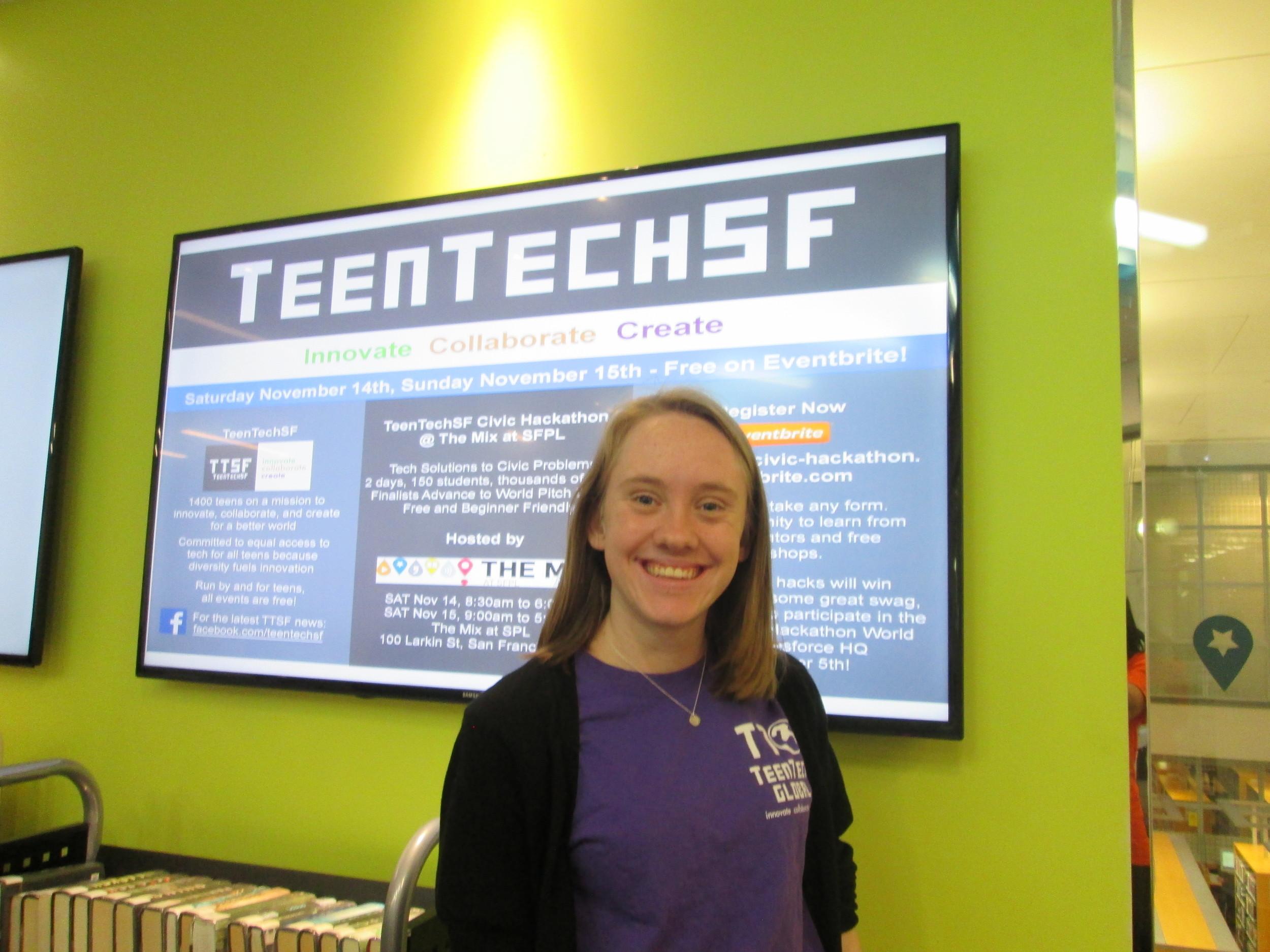 TeenTechSF Leader Sara Fay live-tweeting #TTSFCivicHack