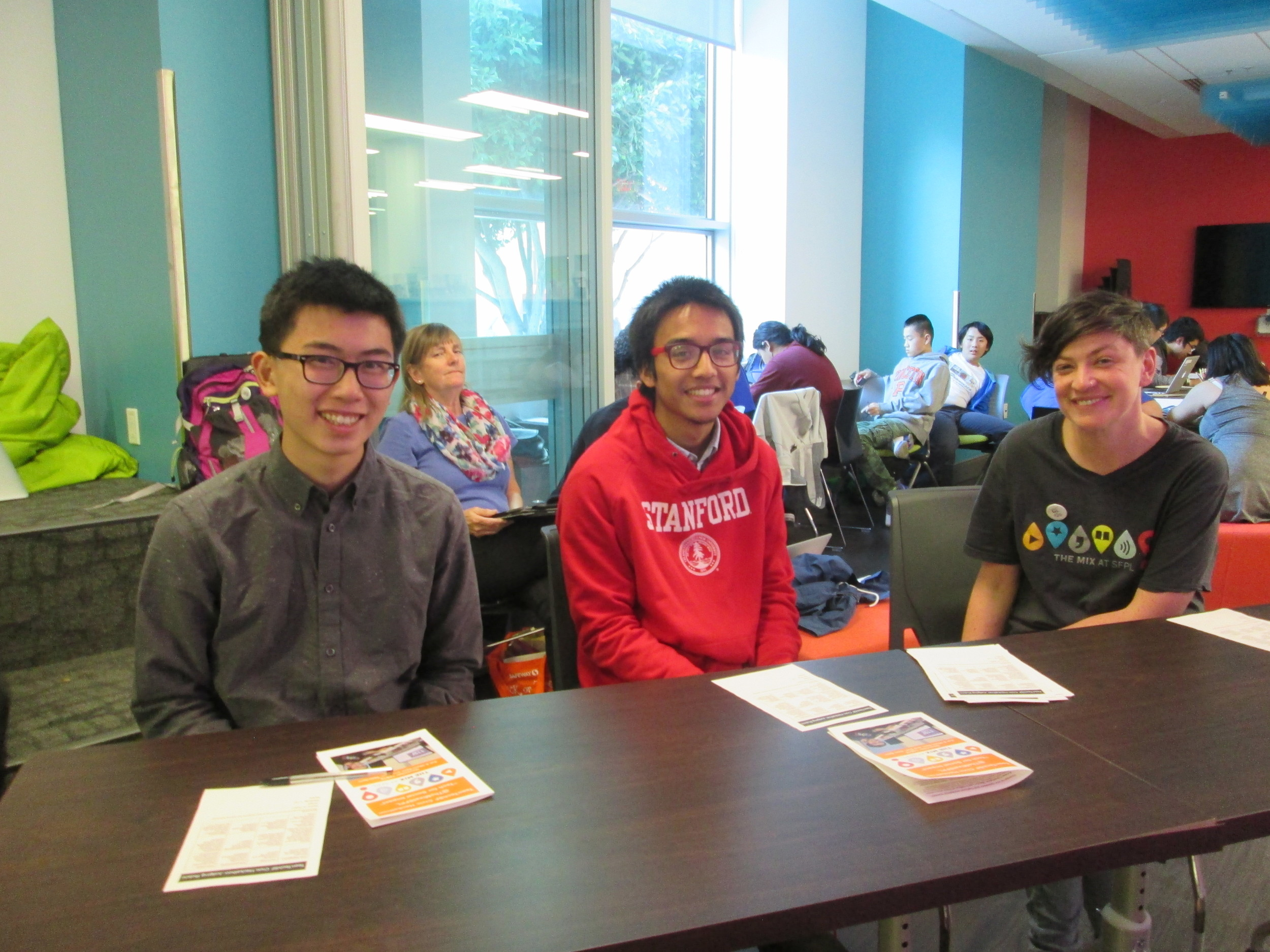 Judging Panel: Austin Tsang (UC Berkeley), Marc Robert Wong (Stanford, TeenTechSF), Mary Abler (The Mix)