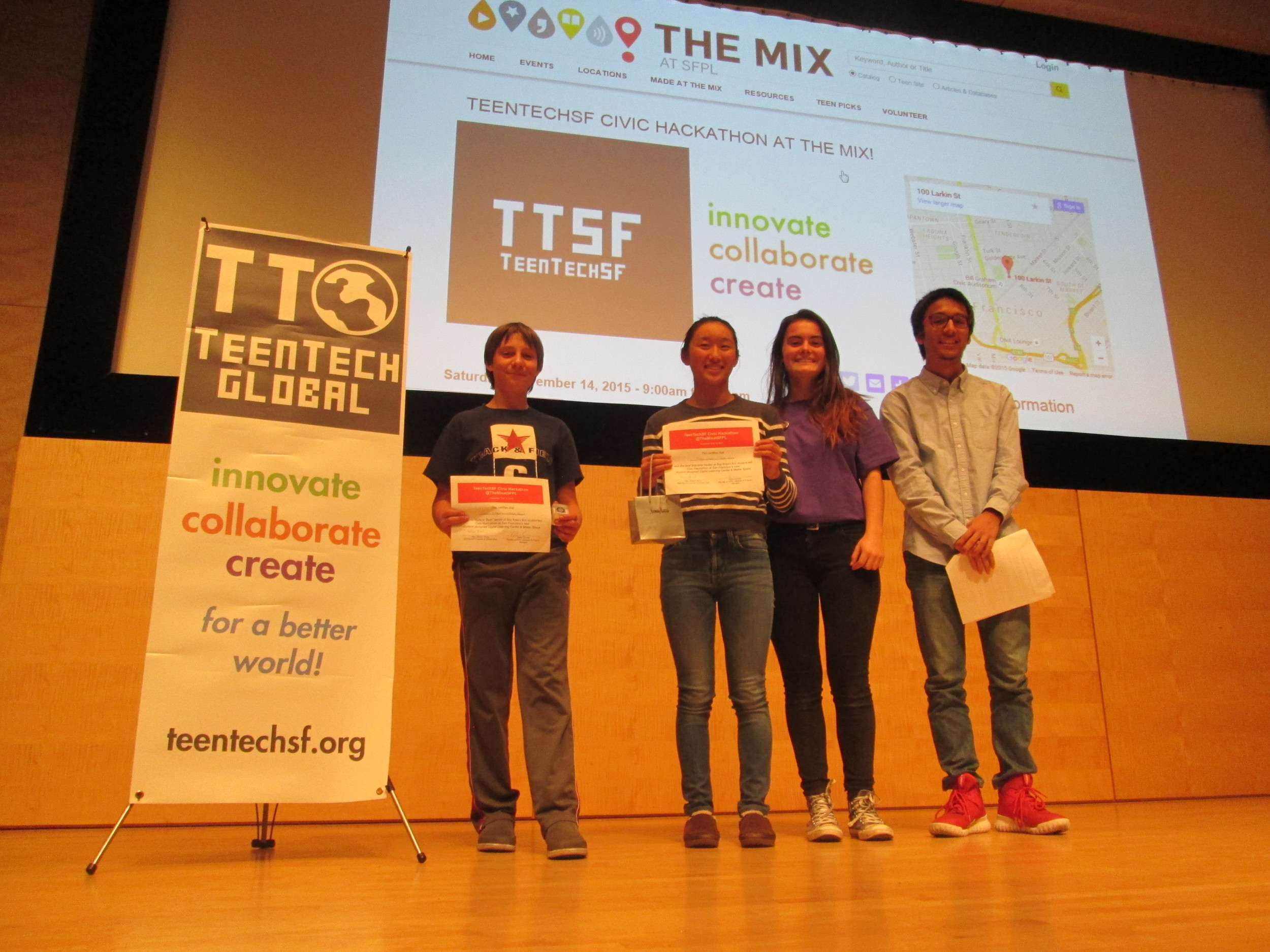 Best 1st time hacker: Drew Pilkinton, Best female hacker Ivy Chen, TTSF Pres-Elect Camille Colbert, TTSF Founder & Global Chair, Marc Robert Wong