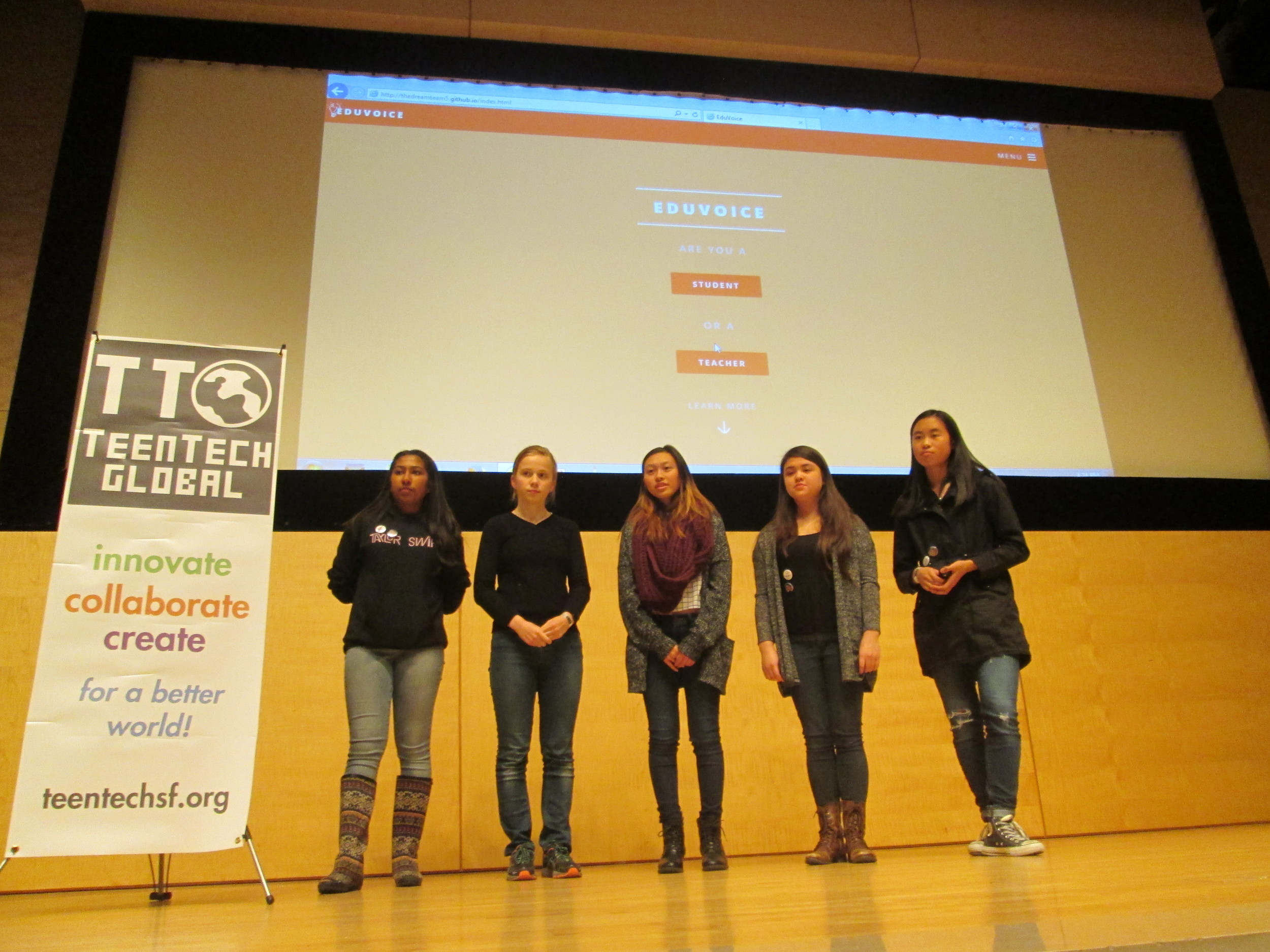 The Dream Team: Five 1st time hackers from five different schools met at the TeenTechSF Civic Hack @TheMixatSFPL