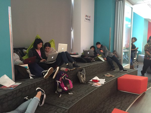 Student hackers at work at the TeenTechSF Civic Hackathon @TheMixatSFPL