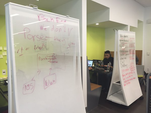 Modular design @TheMixatSFPL allows students to use mobile whiteboards for work and to protect their spaces