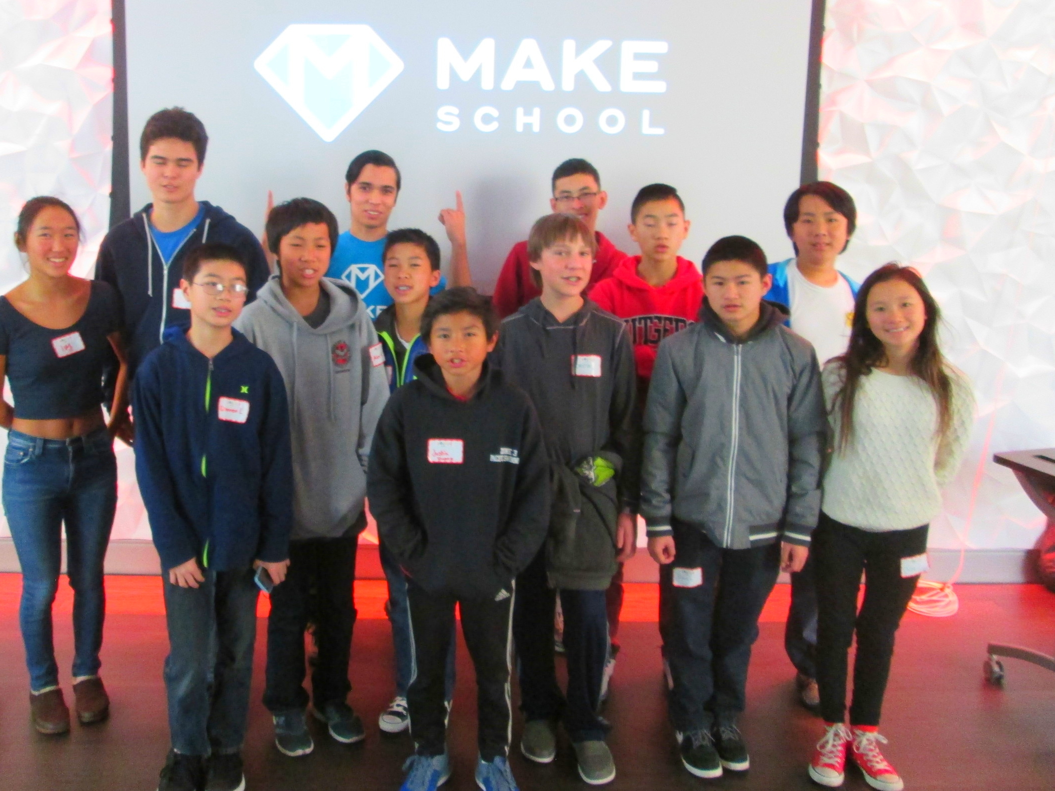 MakeSchool Curriculum Engineer & MIT alum Dion Larson with student hackers @TheMixatSFPL