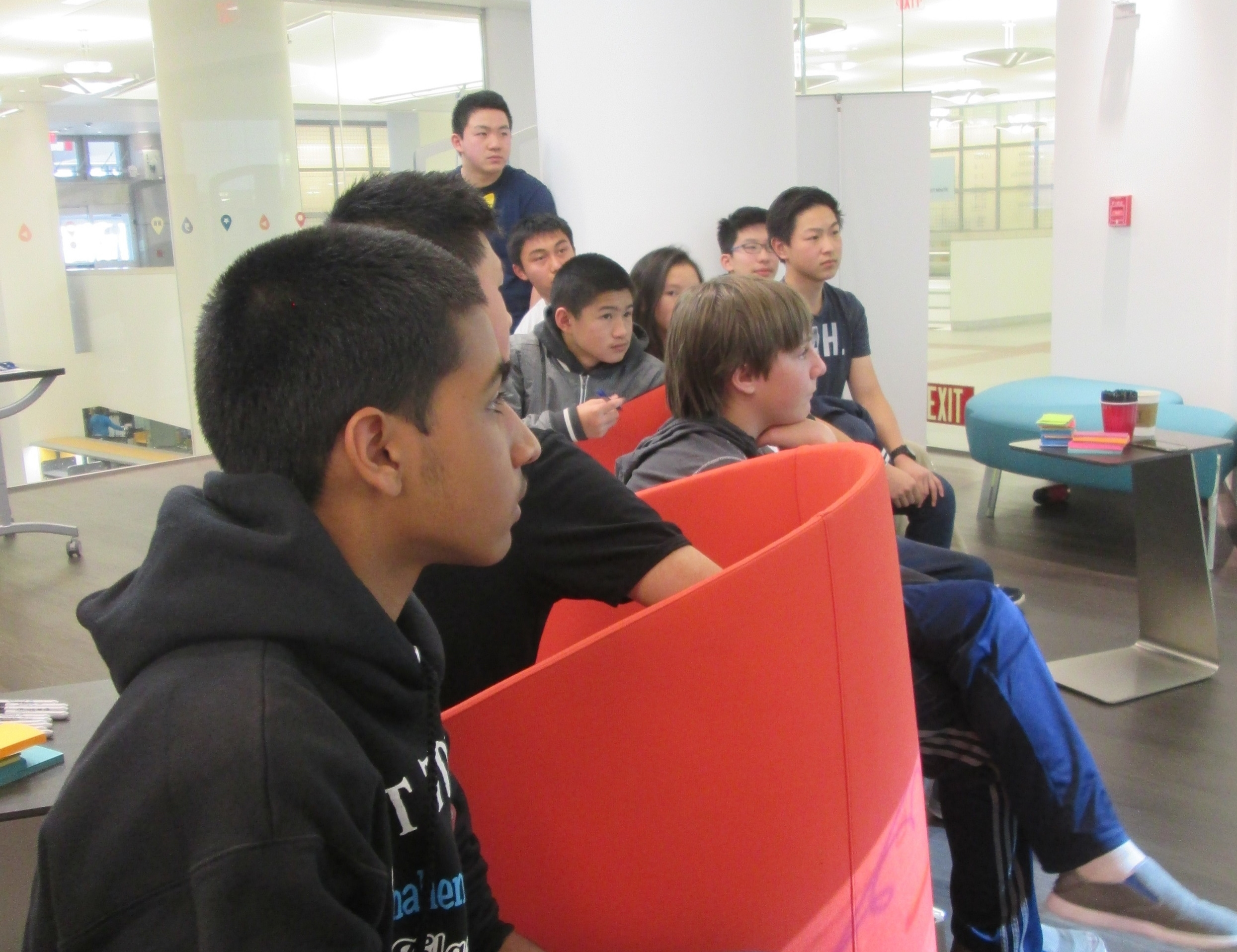 Student hackers attend IDEO workshop at the TeenTechSF Civic Hackathon