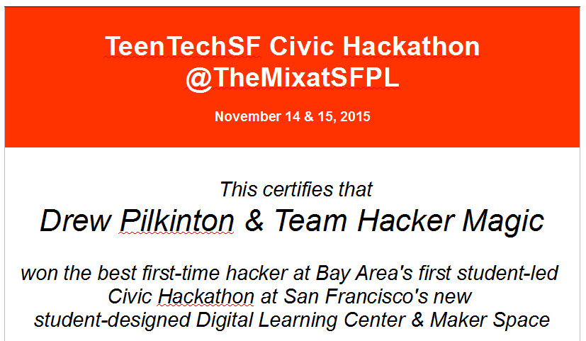 Best 1st time hacker: Drew Pilkinton & Project School Lunch