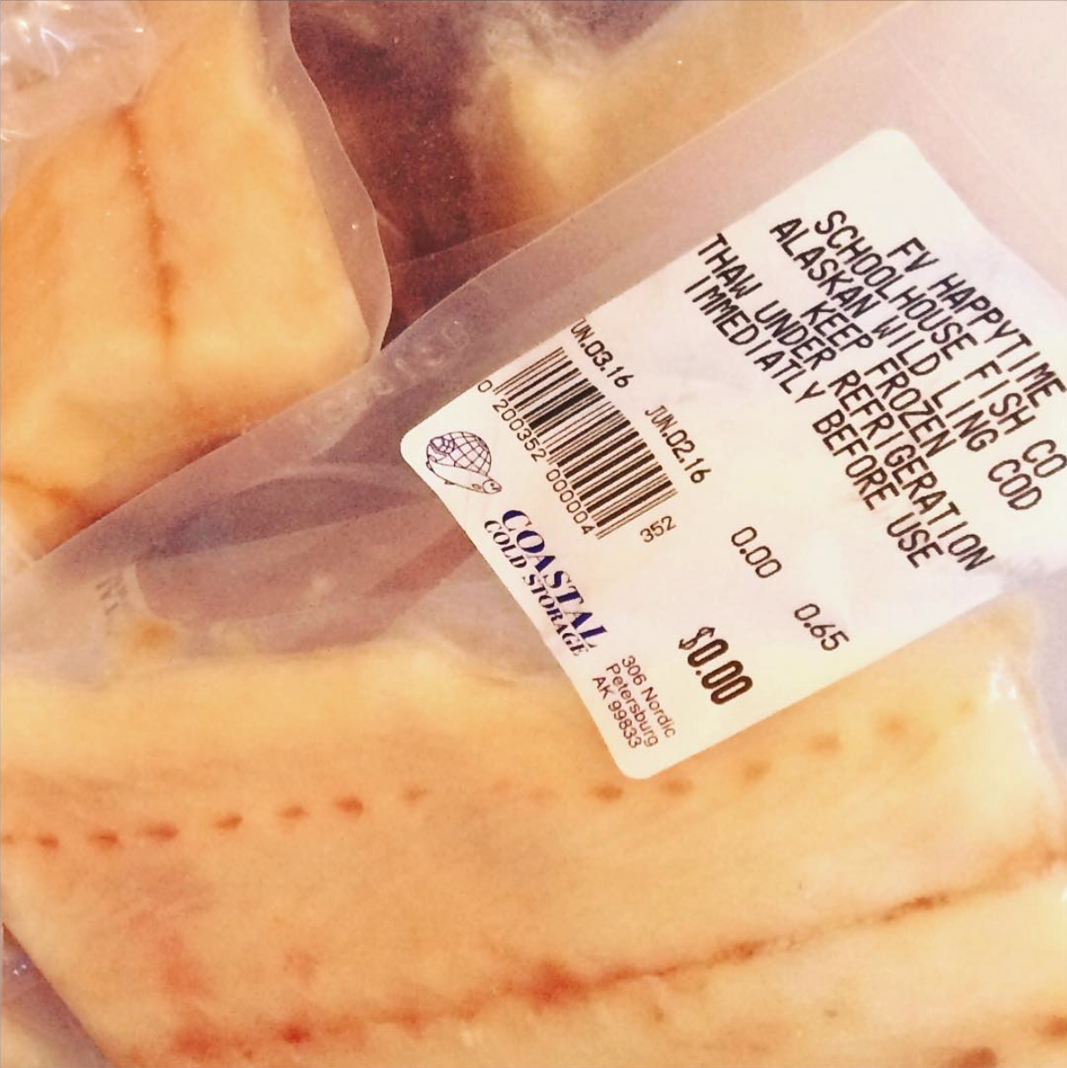 Our blast-frozen lingcod fillets are individually packaged and average about 1 lb in size.