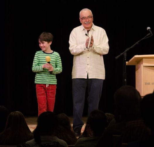 Our son and Juan Felipe Herrera on stage at the Paepke Auditorium on the Aspen Institute campus. photo credit: Will Sardinsky
