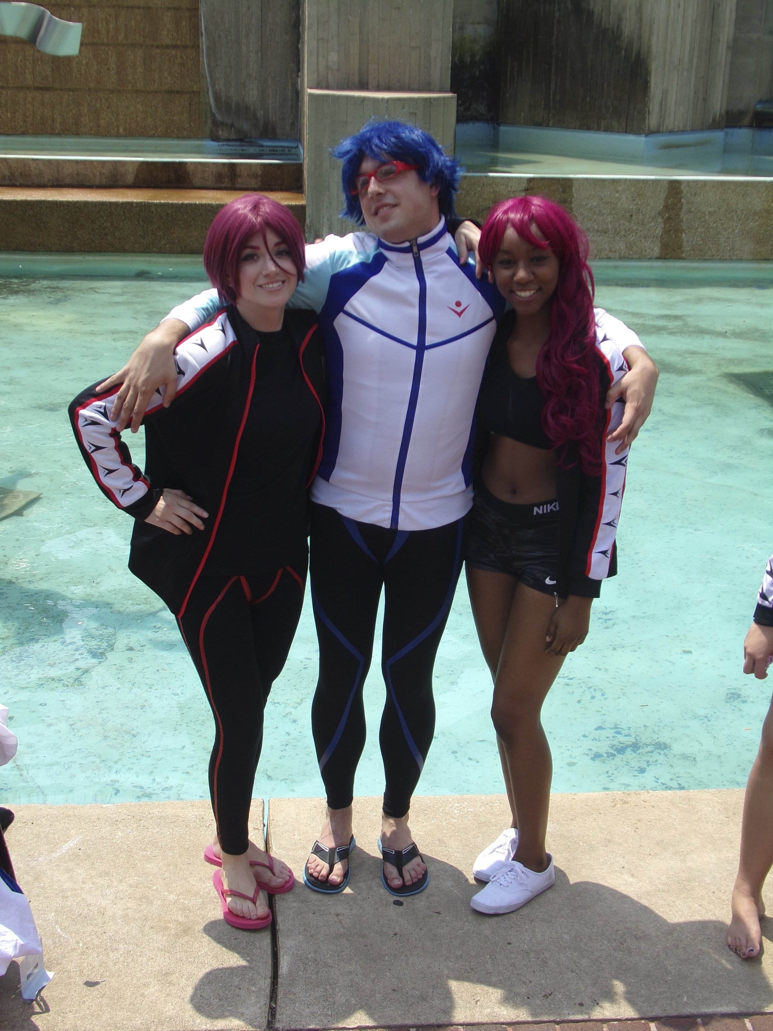 """""""We had a photo shoot going on with about 40 of us [Otakon attendees], so we were all taking random photos together,"""" says Liz about cosplaying Rin from Free! at Otakon (shot by Peter Vazquez)."""
