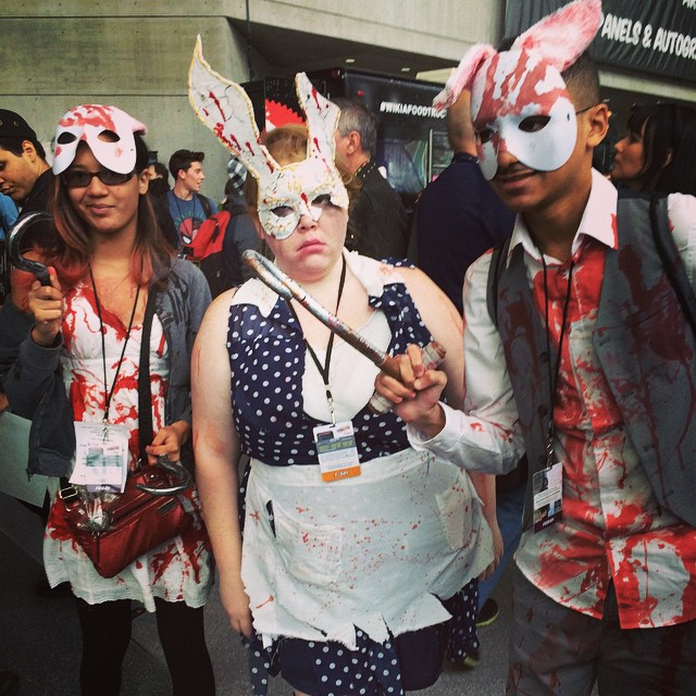 Erin cosplaying as Splicer from the video game Bioshock, also at Comic Con 2014.