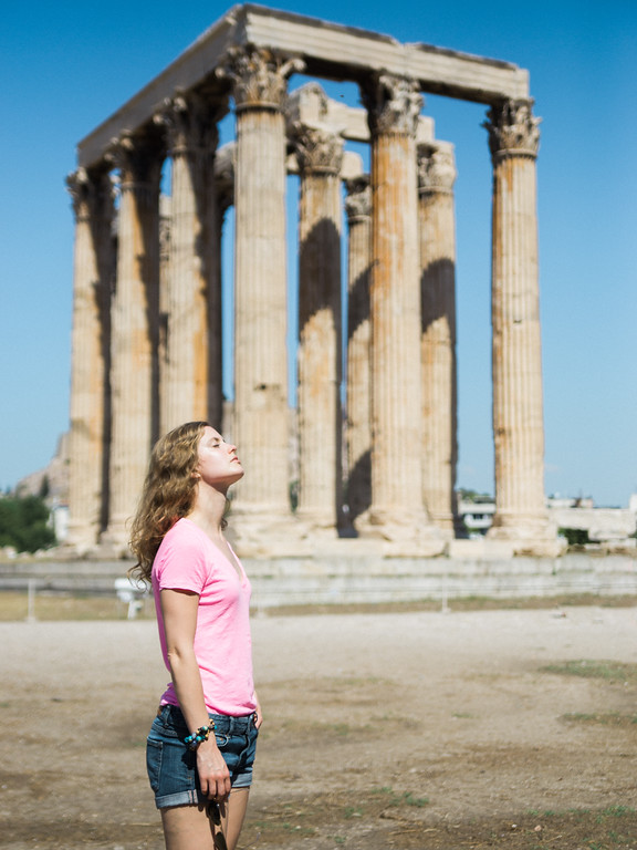 Catching rays by the ruins that are left behind from the Temple of Olympian Zeus. Was terribly hot out!