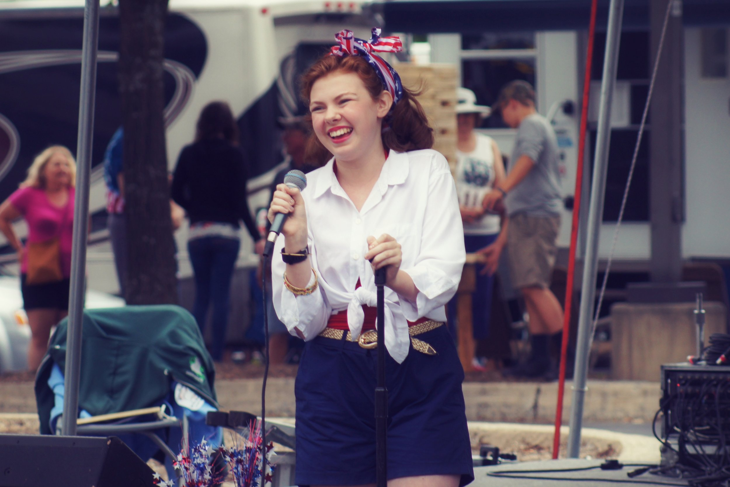"Hannah performing ""God Bless America"" at State College, Pennsylvania's, Fourth of July festival this past summer."