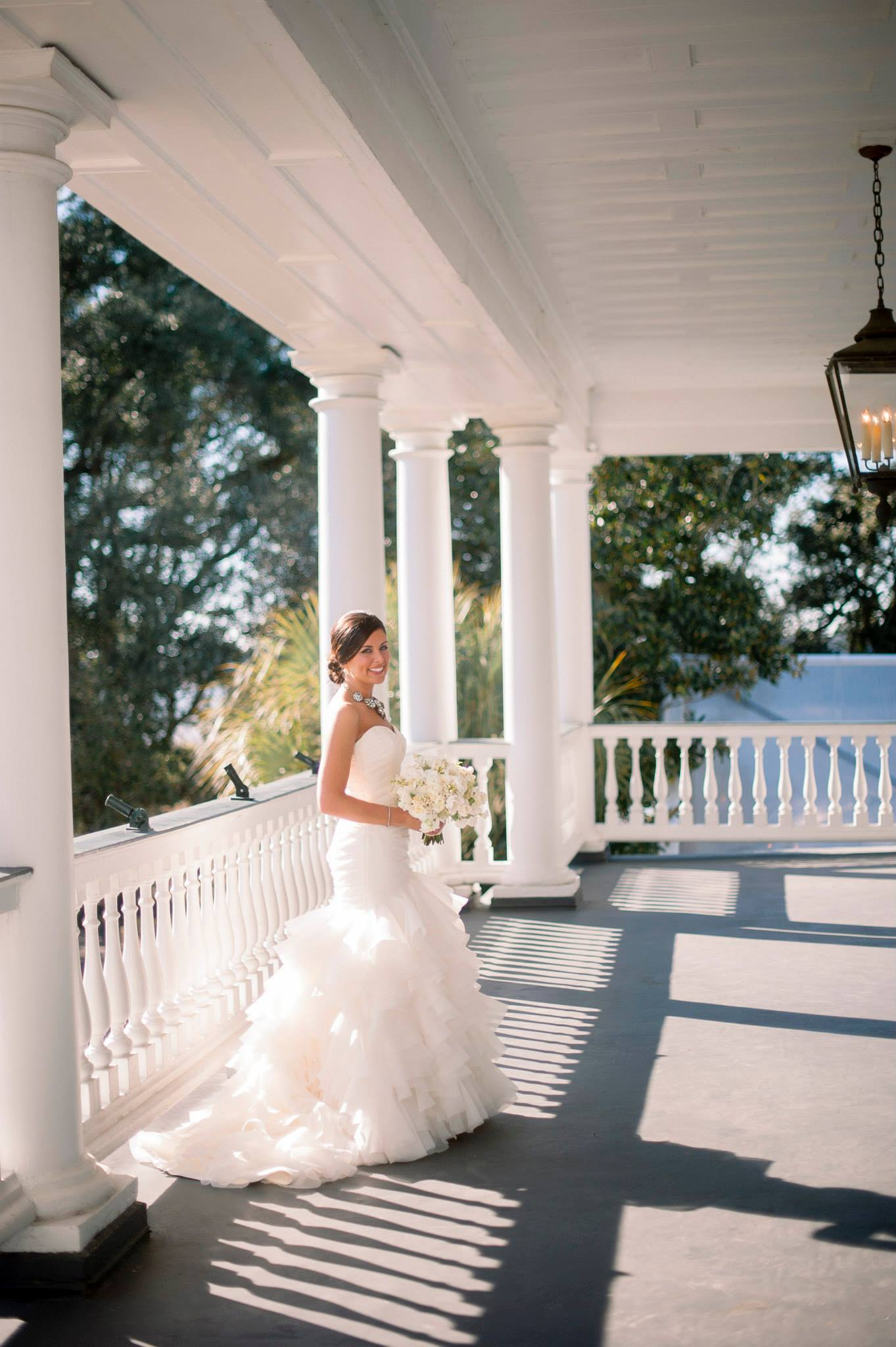 Emily on her wedding day in Charleston, South Carolina, on February 15, 2014. Her dress is by Dennis Basso. Photograph by Tim Willoughby.