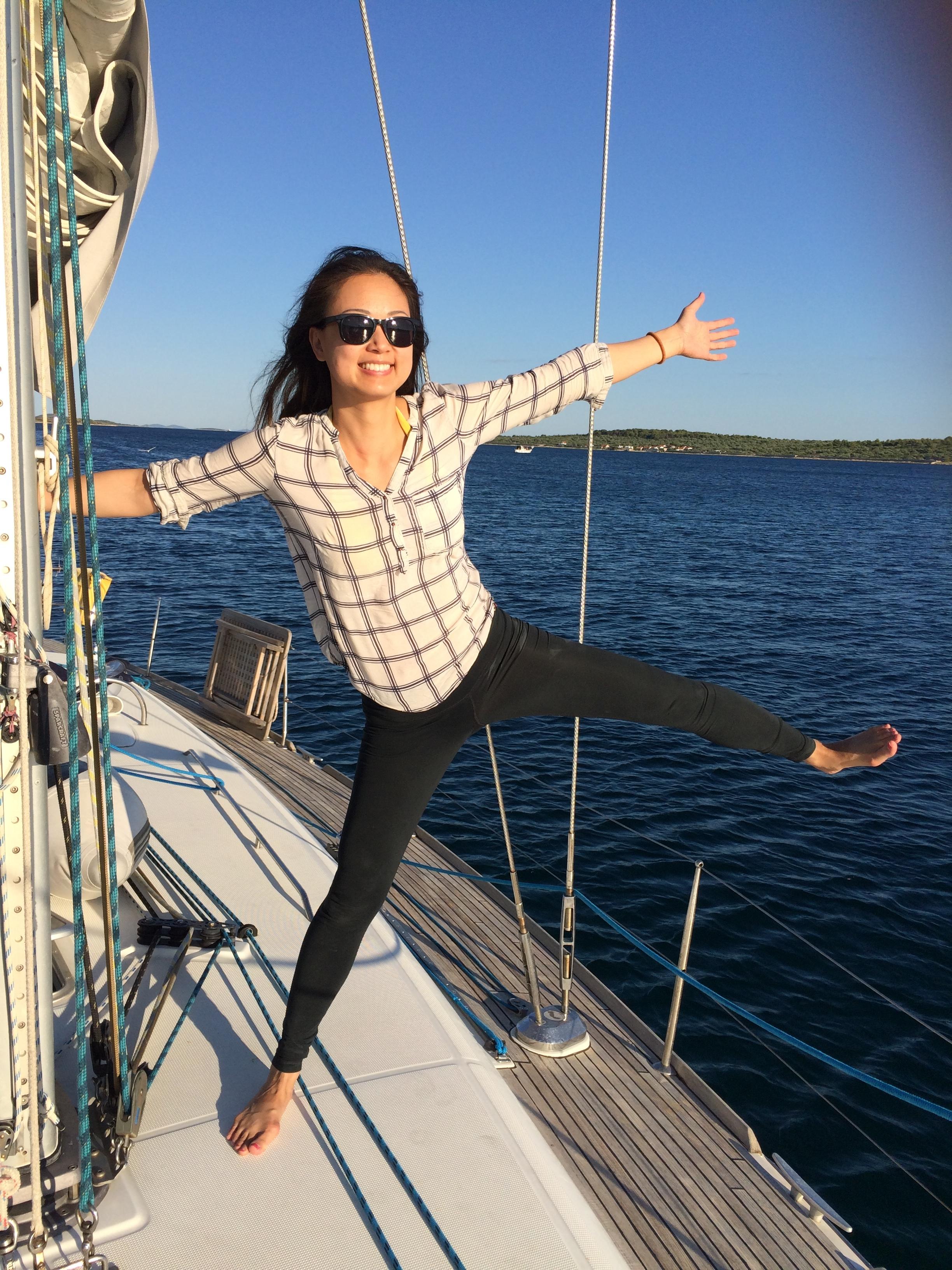 Carolyn Liou, sailing near Croatia this past summer.