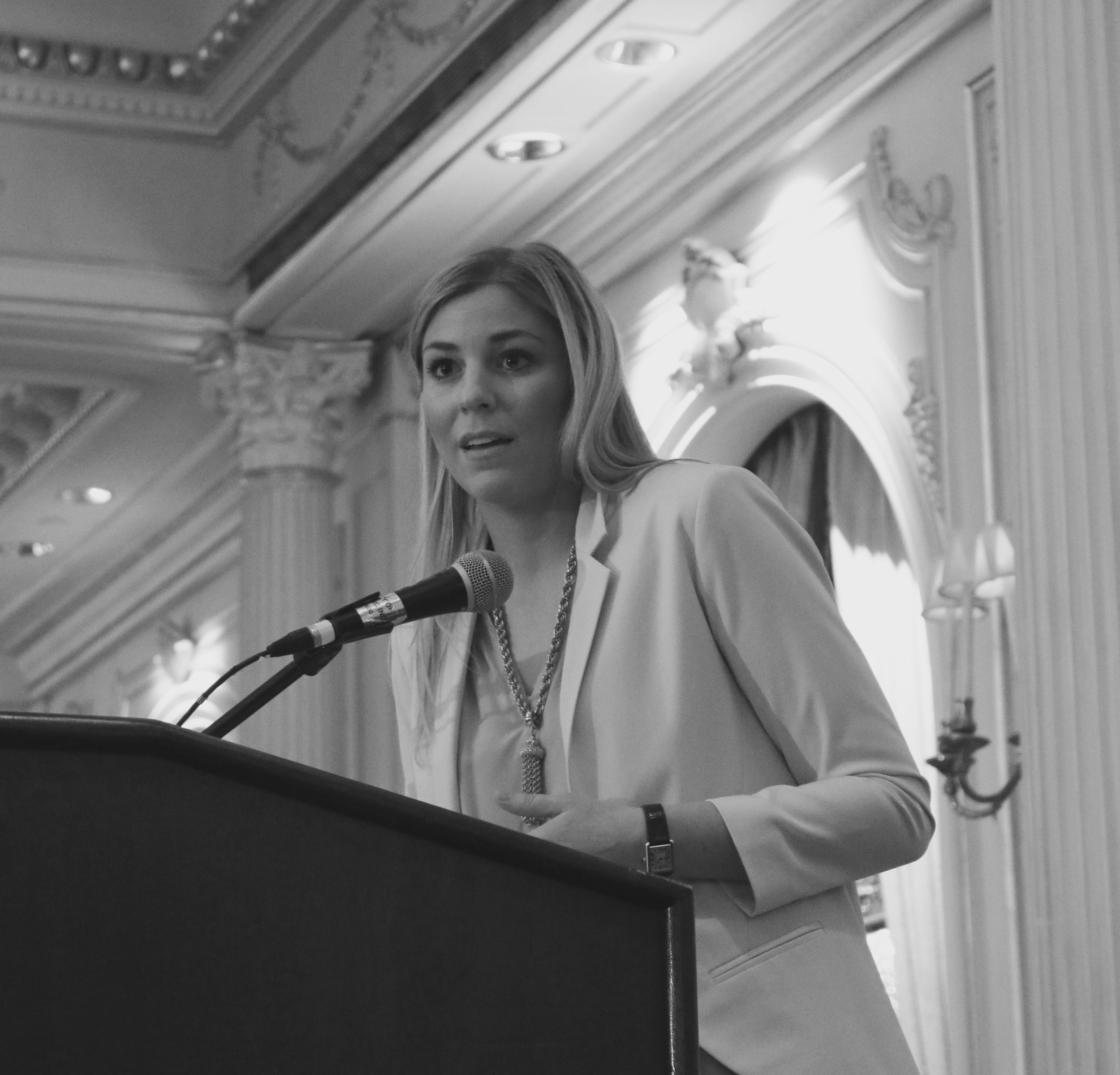 GlamourGals founder and CEO Rachel Doyle speaking during the awards ceremony