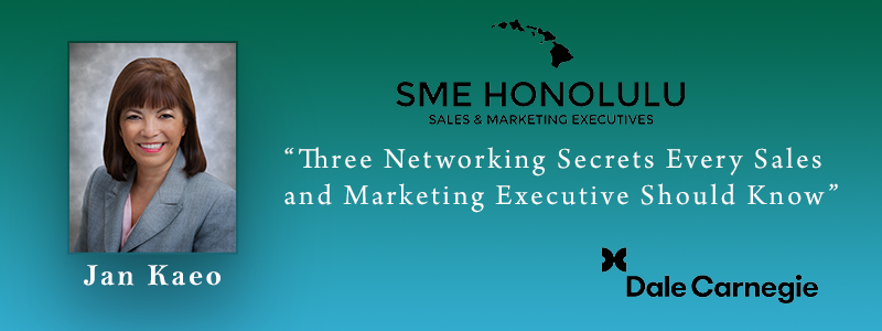 Join us on Thursday, June 27th from 5:30-7:30 at 3660 On The Rise to hear from Jan Kaeo of Dale Carnegie.  At this exciting June SME event you'll receive a powerful opportunity to engage with an expert Dale Carnegie trainer for the price of dinner! What better skill to learn about at a networking event than how to be better at it? Most executives feel like they could do more to improve their effectiveness at networking. Jan will provide three tangible ways to improve your skills and confidence.