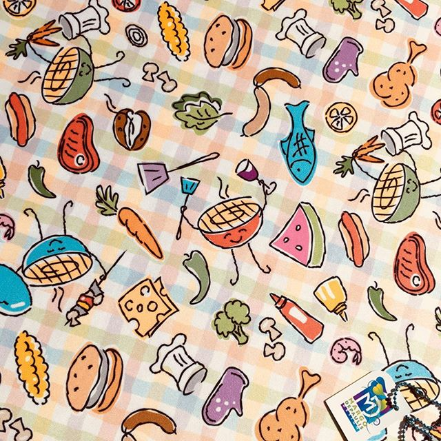 """Grill Giggles"" is my Spoonflower entry for the Summer Cookout design challenge! Voting begins March 29th 😃  #surfacedesigner #surfacedesign #patterndesign #surfacepatterndesign #textiledesign #fabricdesign #textiledesigner #fabricdesigner  #printandpatterndesign #patternillustration #spoonflower #society6 #bbq #barbecue #summer cookout #grilling #picnic #Spoonflower design challenge"