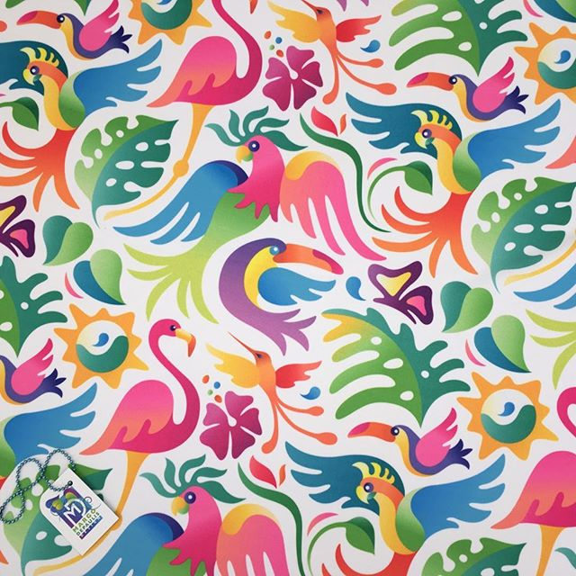 A Tropical Bird Party! In my Spoonflower shop😊 #surfacedesigner #surfacedesign #patterndesign #surfacepatterndesign #textiledesign #fabricdesign #textiledesigner #fabricdesigner  #printandpatterndesign #patternillustration #spoonflower #society6 #tropical birds