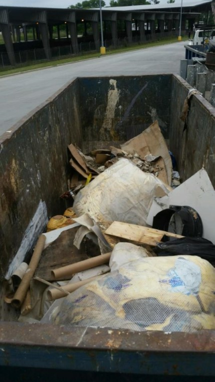 Cellulose debris removed from crawl space