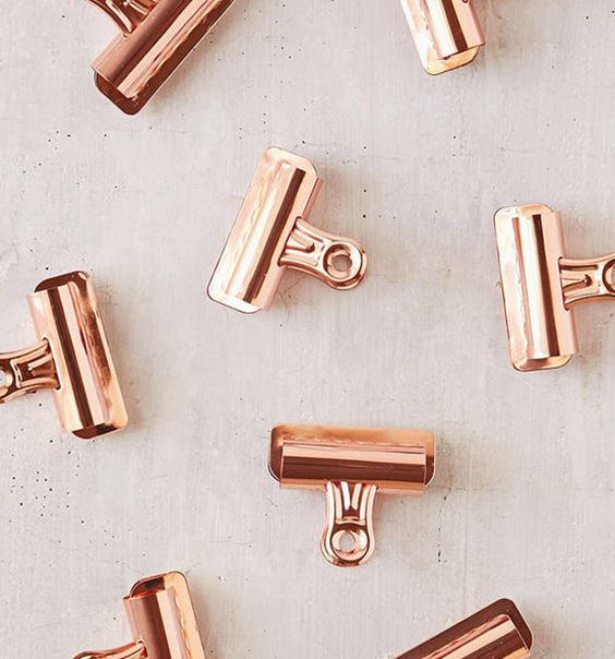 Rose Gold Copper Bull Dog Clips for Hanging Art Prints