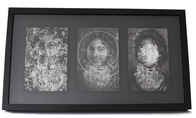 Coleção de Incertezas.  Permanência de presentes . Pigmento mineral sobre papel algodão, pedaços de linha e costura. 27x48x4,1cm