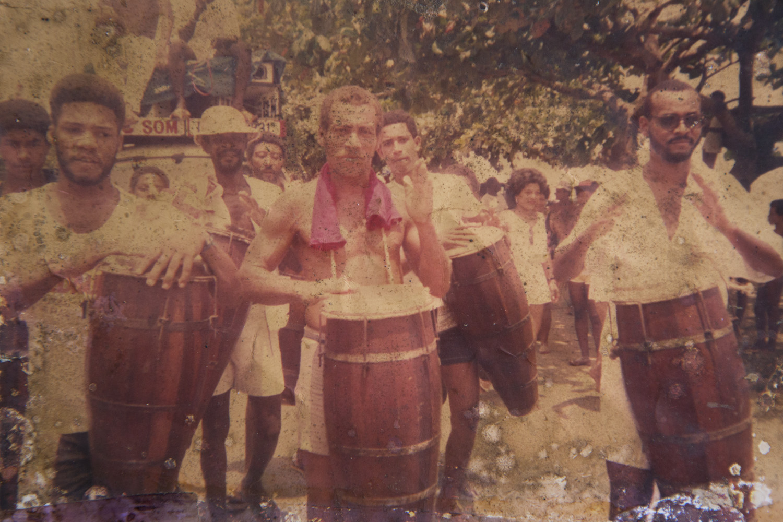 Leco, Djalma e Balbino no ensaio do bloco Afoxé Olá