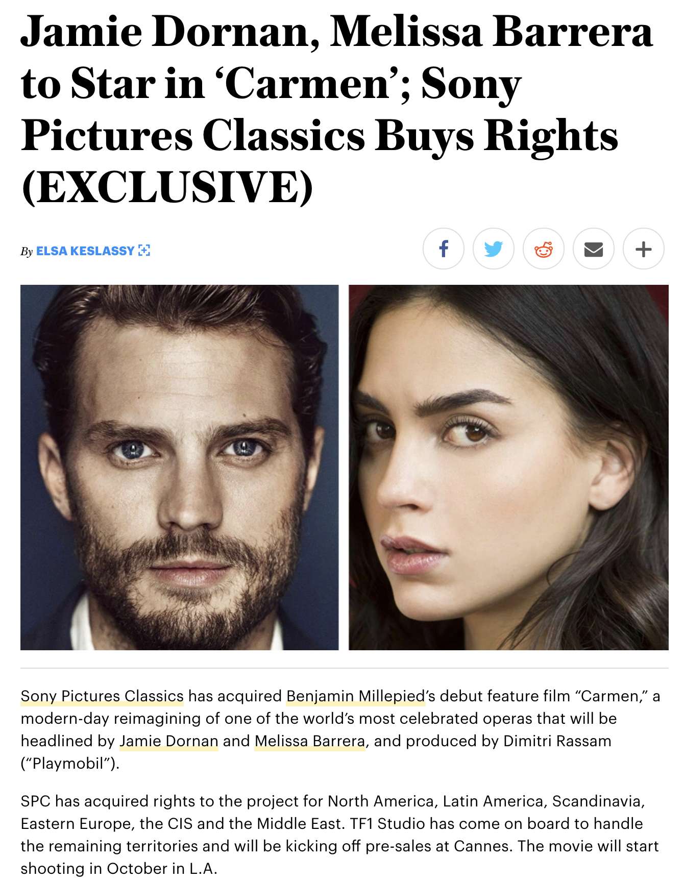 "Sony Pictures Classics  has acquired  Benjamin Millepied 's debut feature film ""Carmen,"" a modern-day reimagining of one of the world's most celebrated operas that will be headlined by  Jamie Dornan  and  Melissa Barrera , and produced by Dimitri Rassam (""Playmobil"").  SPC has acquired rights to the project for North America, Latin America, Scandinavia, Eastern Europe, the CIS and the Middle East. TF1 Studio has come on board to handle the remaining territories and will be kicking off pre-sales at Cannes. The movie will start shooting in October in L.A.  Millepied has assembled a strong creative team, including Pulitzer Prize-winning playwright Nilo Cruz (""Anna in the Tropics"") who is currently finalizing the shooting draft, and Oscar-nominated music composer Nicholas Britell (""Moonlight,"" ""Vice"") who will compose an original score."