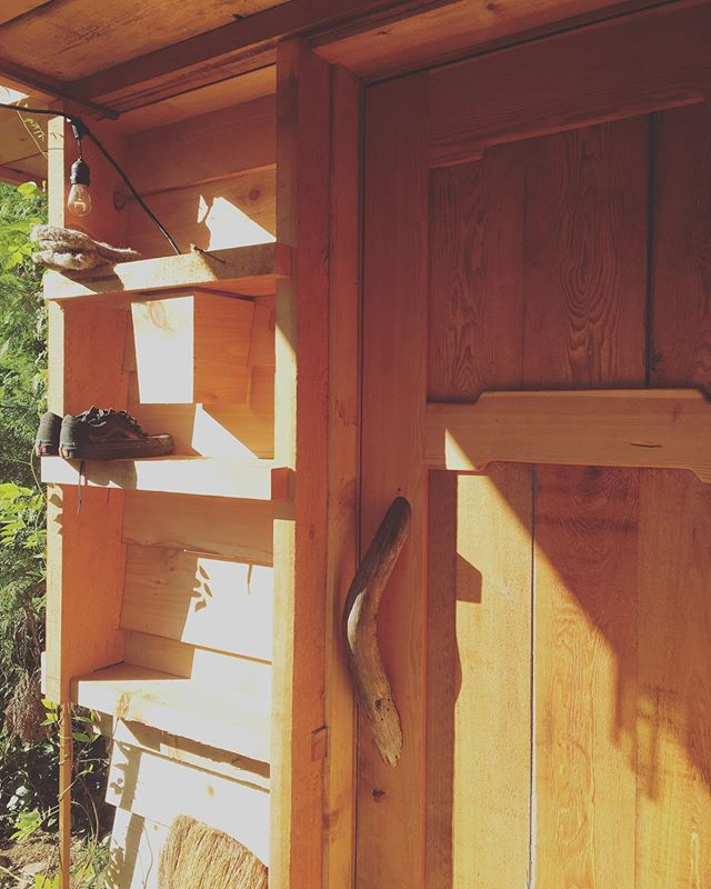 Front door shelf finally got its backing and a light cover at the old cabin! #tinyhouse #sunshinecoast #tinyliving