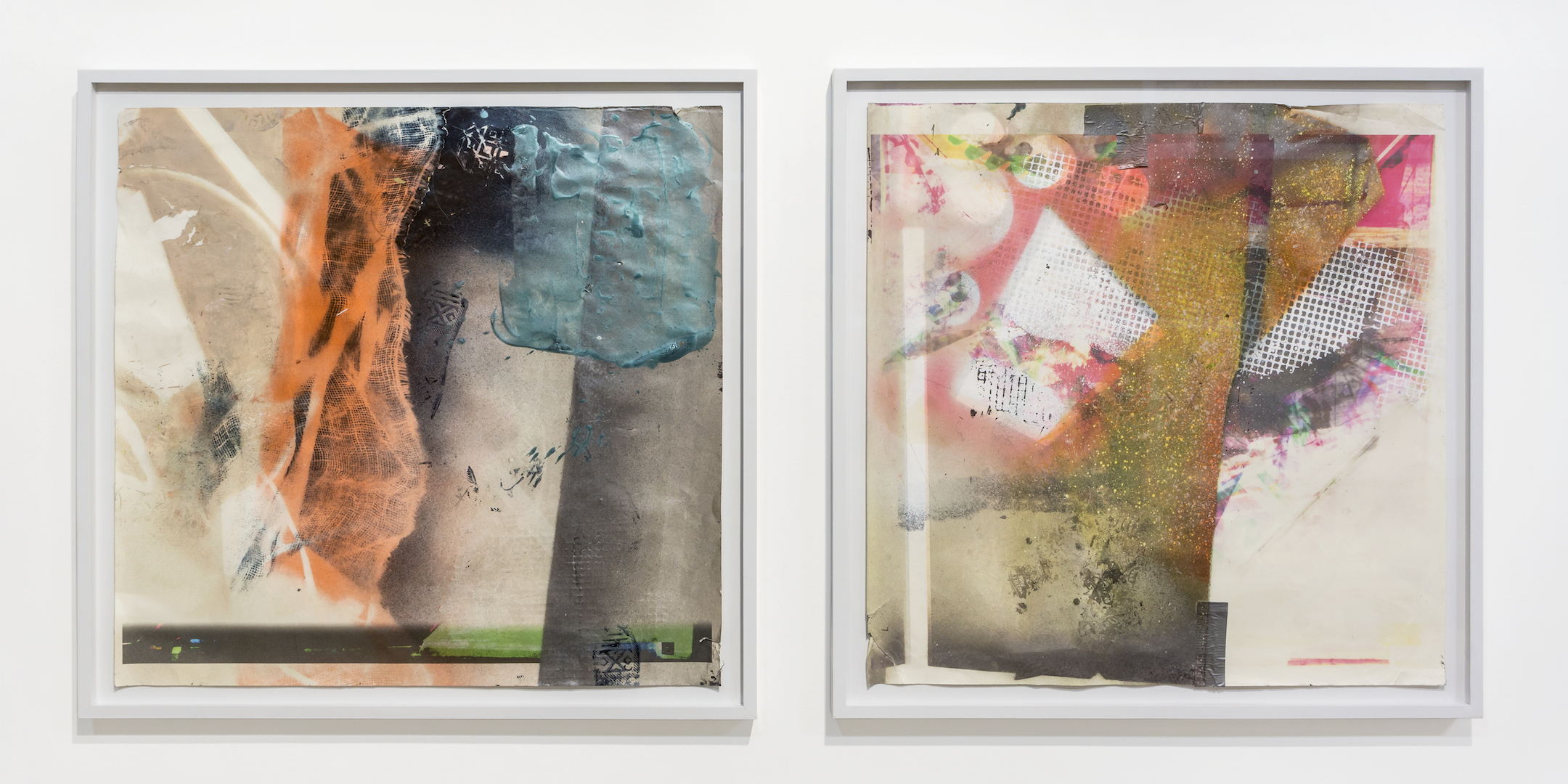 IAIN MUIRHEAD   1617 and 1615  , 2015-2016. Airborne pigment, acrylic binder, ultraviolet ink, smooth bristol paper,duct tape, nylon monofilament. Paper: 36 x 36 inches each. Frame: 40 x 40 inches each.