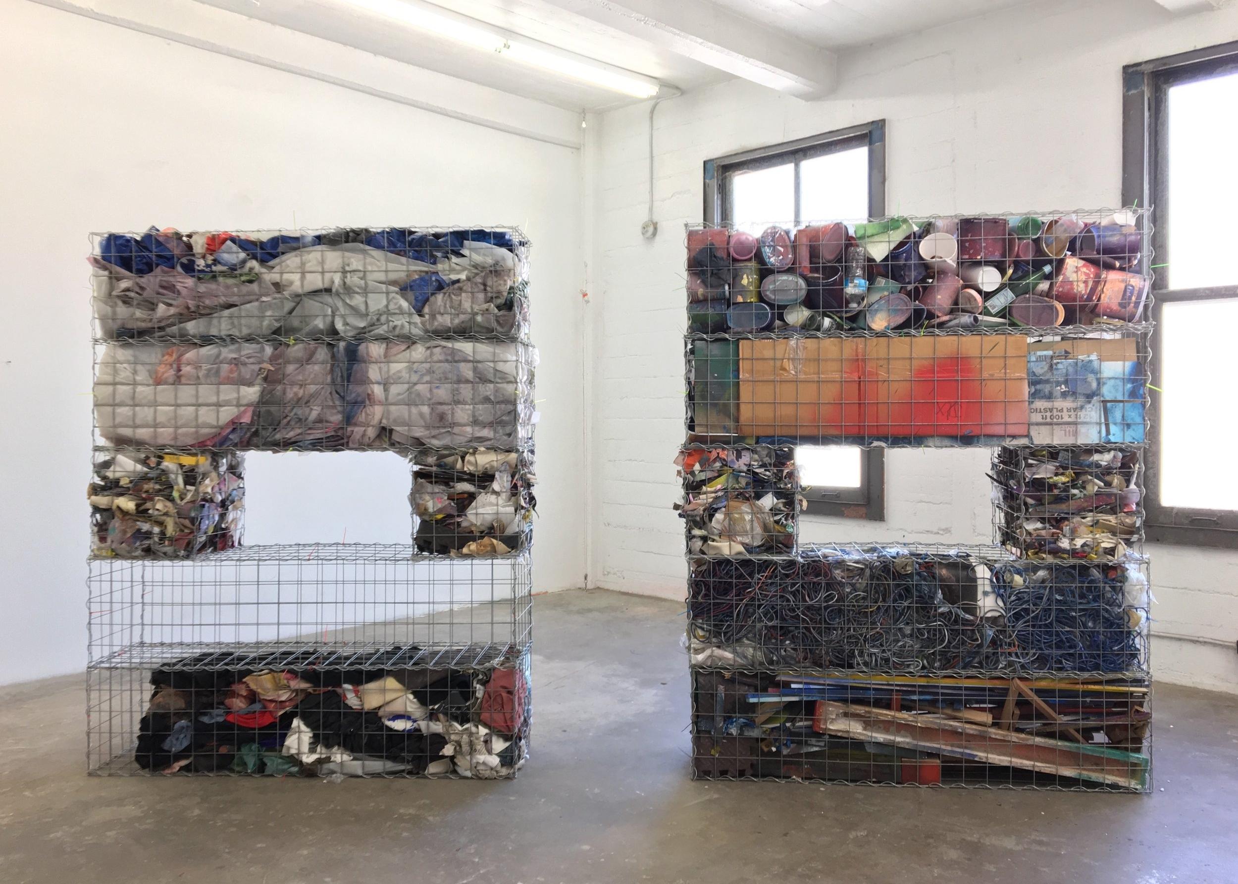 IAIN MUIRHEAD   1726:1737  , 2014-2017. Gabion baskets, zip ties, aggregate studio material. Diptych 76 x 60 x 16 inches each.