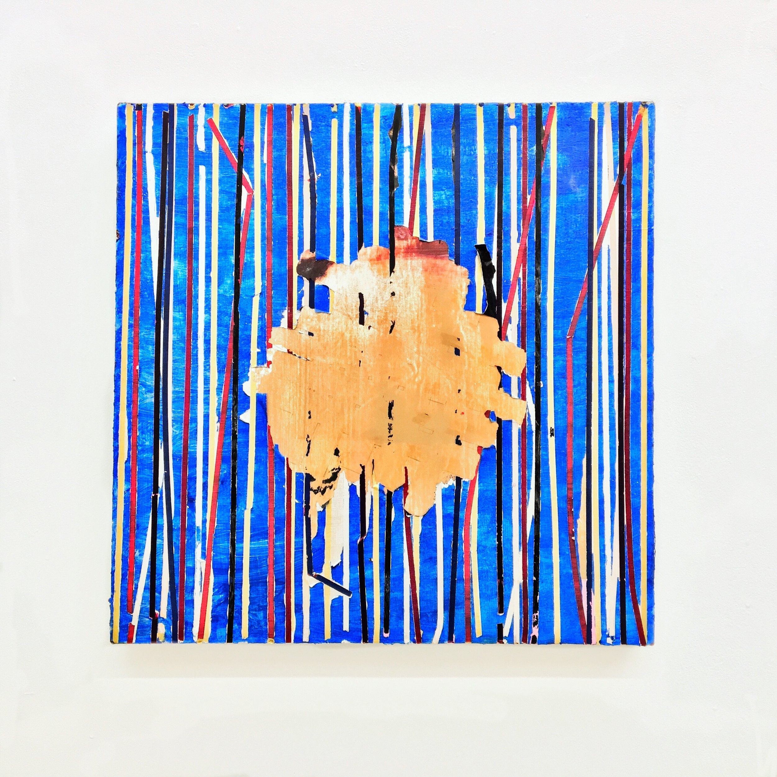 IAIN MUIRHEAD   1627  , 2014-2016. Oil, airborne pigment, acrylic binder, 10oz cotton duck canvas, white titanium gesso, milled pine, lauan plywood,3mm staples, 16 gauge pneumatic nails. 23 x 23 inches.