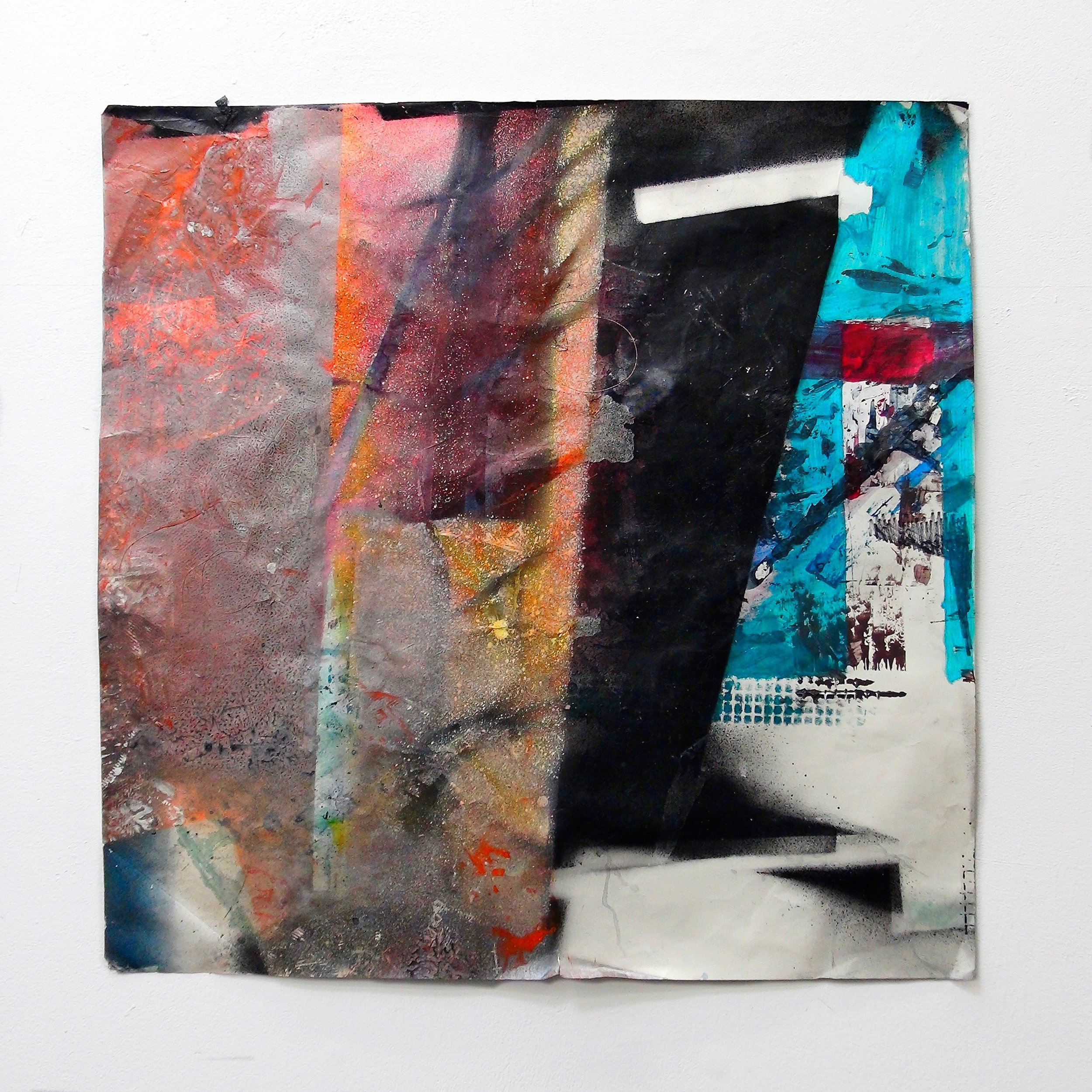 IAIN MUIRHEAD   1618  , 2015-2016. Airborne pigment, acrylic binder, ultraviolet ink, smooth bristol paper, nylon monofilament. Paper: 36 x 36 inches.