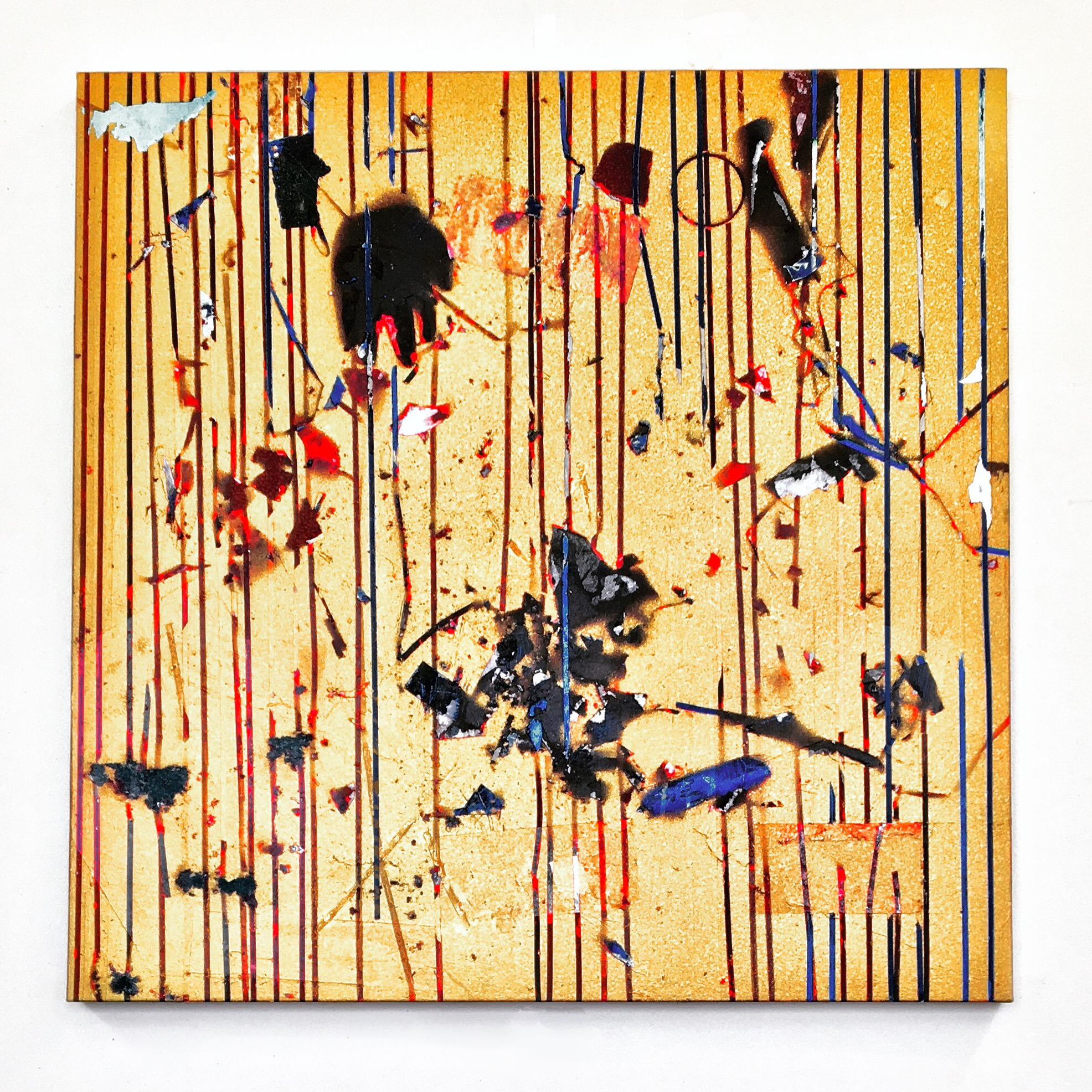 IAIN MUIRHEAD   1701  , 2014-2017. Oil, airborne pigment, acrylic binder, 10oz cotton duck canvas, white titanium gesso, milled pine, lauan plywood,3mm staples, 16 gauge pneumatic nails. 41 x 41 inches.