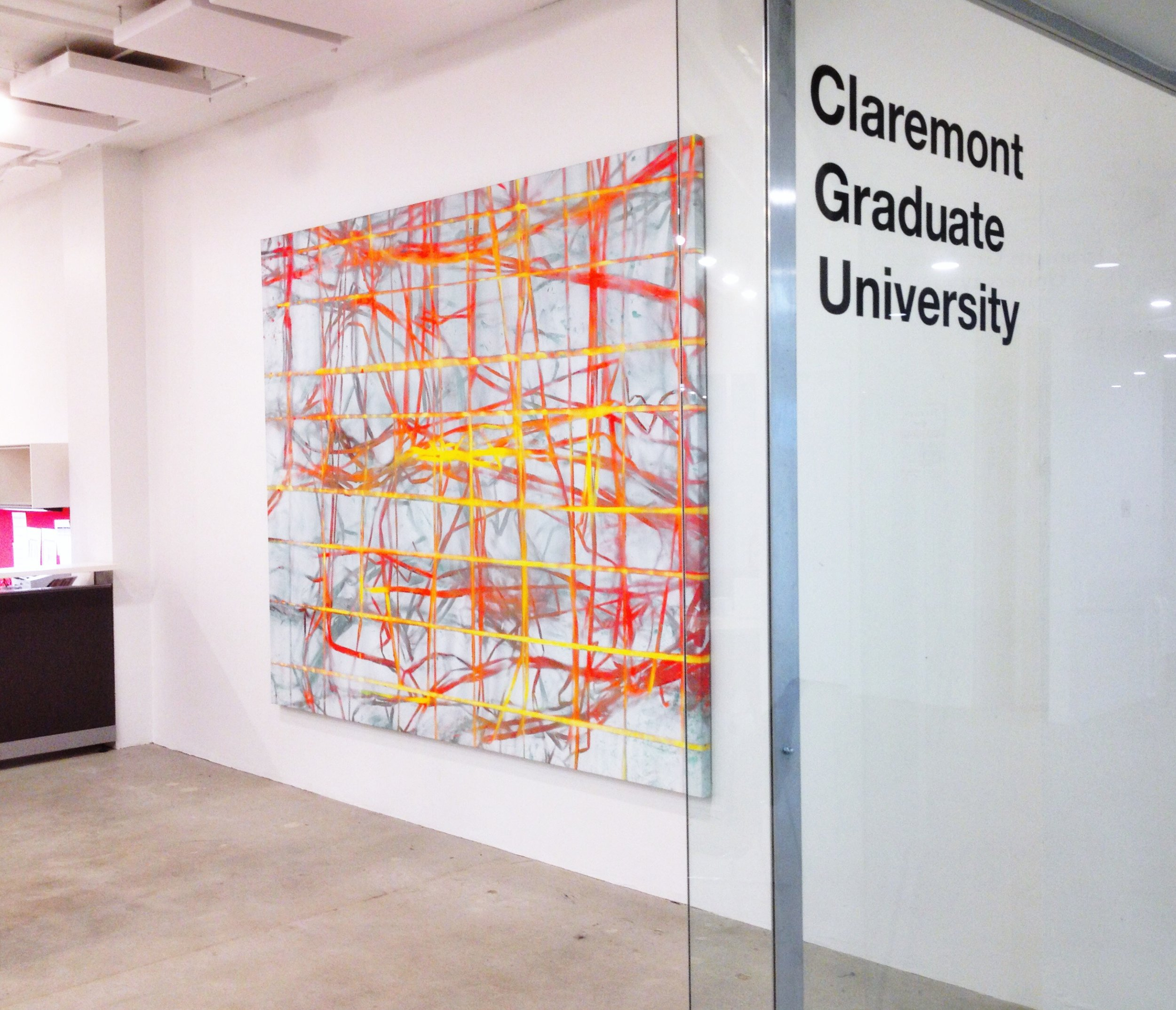 IAIN MUIRHEAD   1515  , 2015. Airborne pigment, acrylic binder, 10oz cotton duck canvas, white titanium gesso, milled pine, 3mm staples, #8 screws. 89 x 111 inches. Installation view Claremont Graduate University at The Reef, Los Angeles.