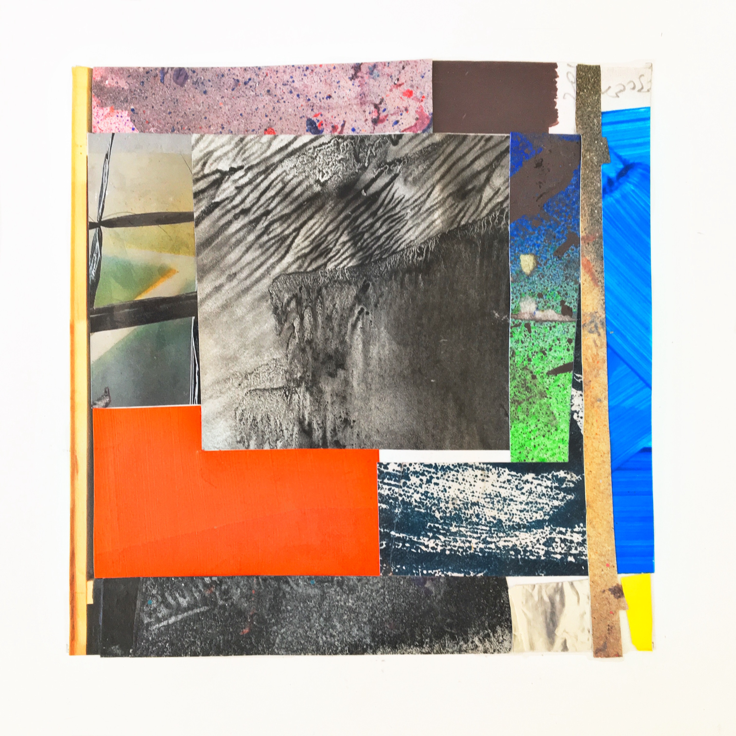 IAIN MUIRHEAD   18136:18160,   2018. Peripheral painting aggregate (2014-2018) bricolage on paper. 8 x 8 inches each.