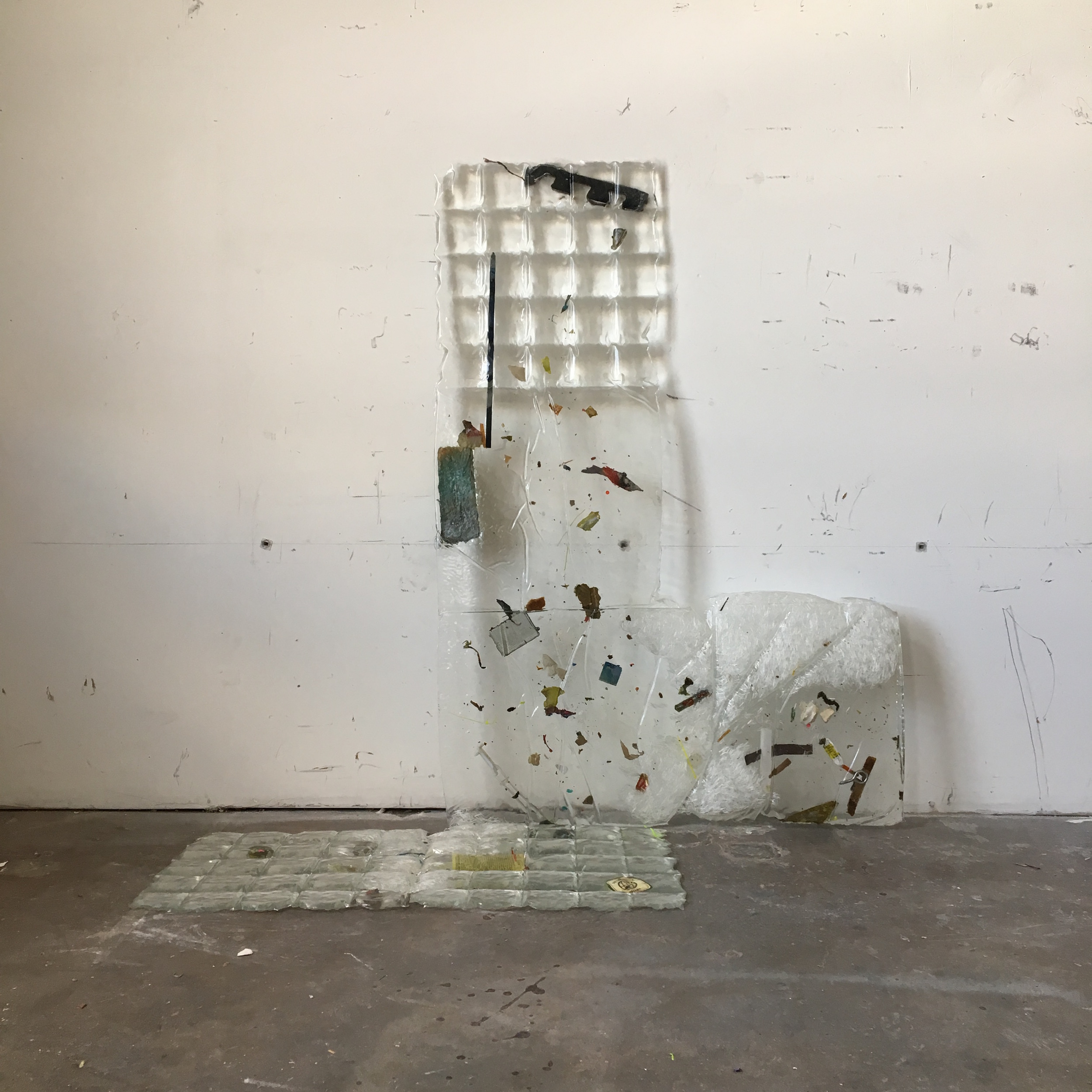 IAIN MUIRHEAD   18175,   2018. Aggregate studio sediment (2014-2018) and polyester resin. 45 x 45 x 17 inches.