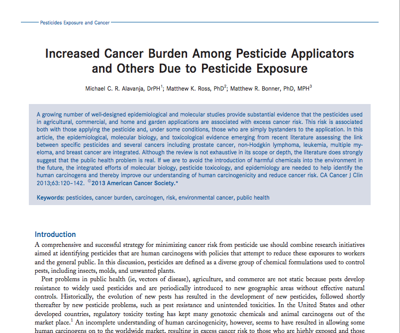 "American Cancer Society, ""Increased Burden Among Pesticide Applicators and Others Due to Pesticide Exposure"""