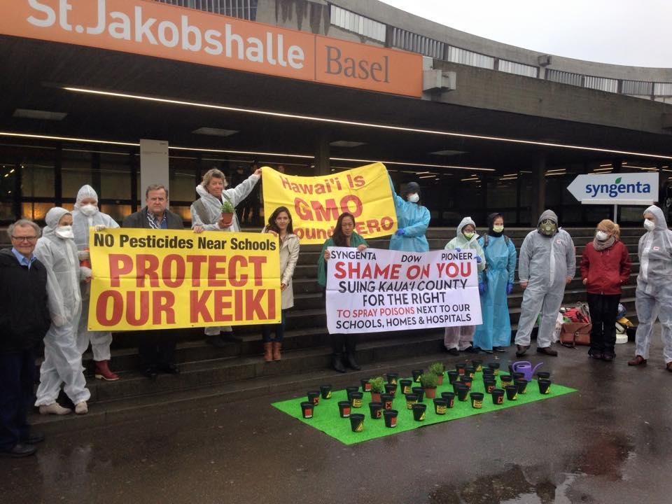 Swiss activists join Kaua`i residents outside the Syngenta Shareholders Meeting in Basel, Switzerland.