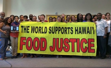 Food Justice advocates from Africa, Asia, Latin America, Europe and North America gathered in Hawai'i in January 2016.