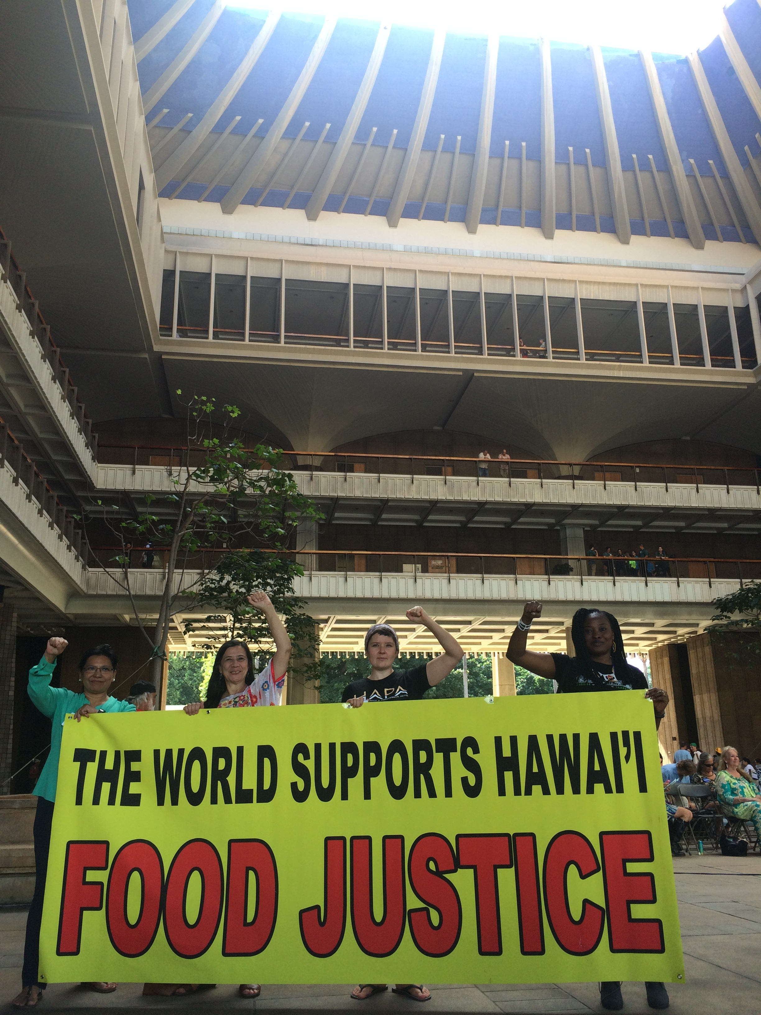Food Justice Speakers from Malaysia, Mexico, Switzerland and Nigeria make a statement at Opening Day of the Legislature on January 20, 2016.