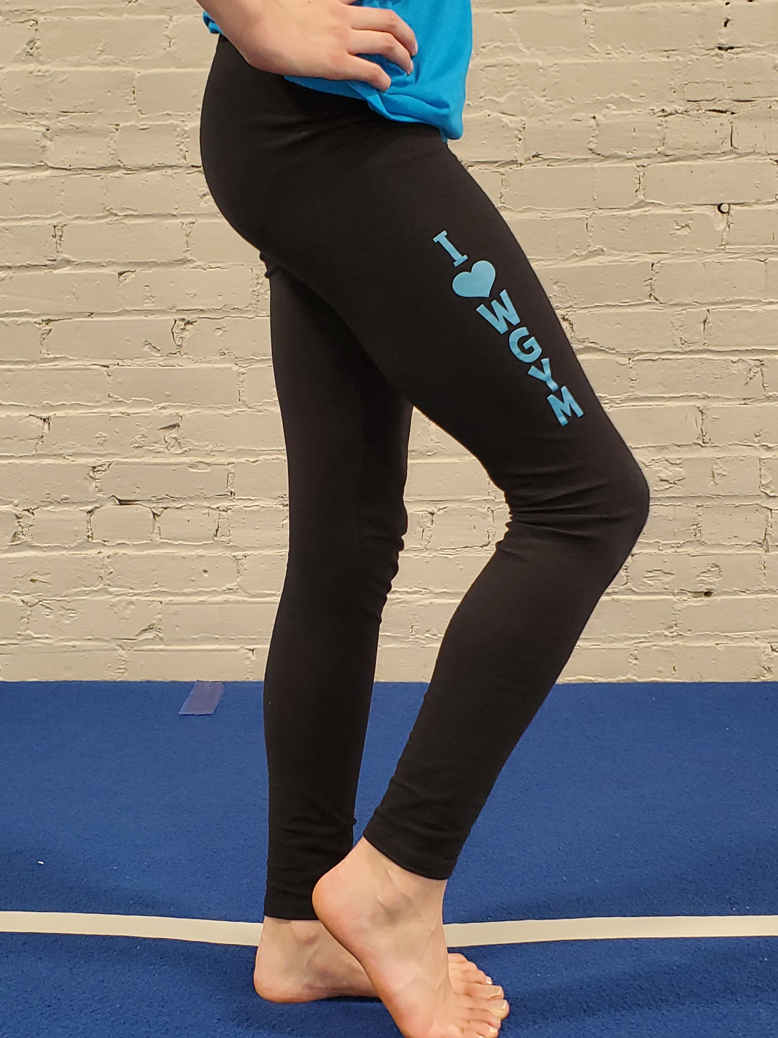 LEGGINGS $20   Boxercraft Brand - I {heart} WGym in Metallic Blue  Anna is wearing Adult Small in photo.  Available Sizes: Youth Small (6/8),Youth Medium (10/12), Youth Large (14/16), Adult Small, Adult Medium, Adult Large, Adult XLarge, Adult 2XL