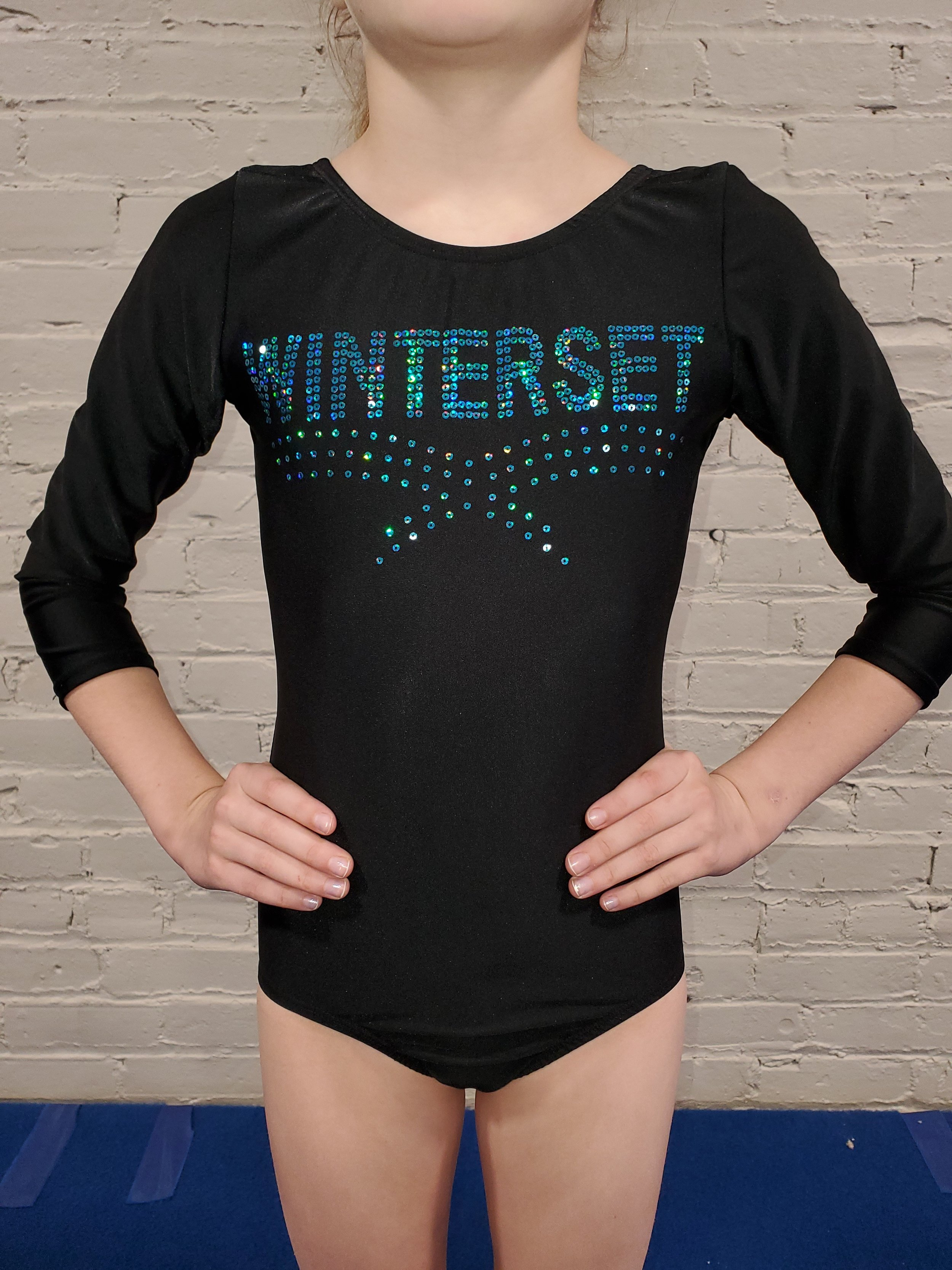 3/4 SLEEVE COMPETITION LEOTARD - $55    BLACK COMPETITION SHORTS (optional, not shown in picture) $20  are now permitted for competitions. Suggested but not required for all ages and levels.