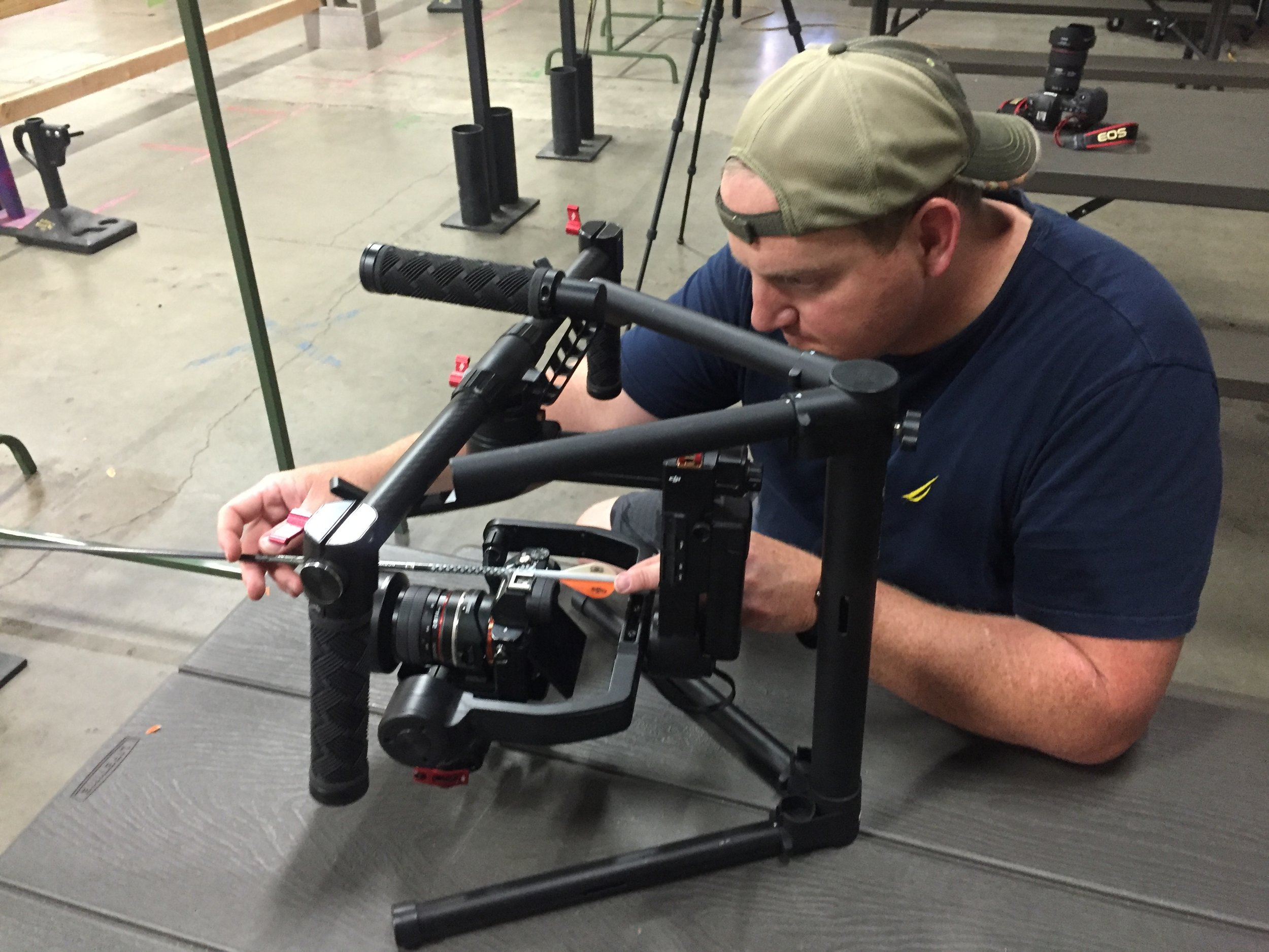Setting up for a commercial shoot at Hit or Miss Archery Center