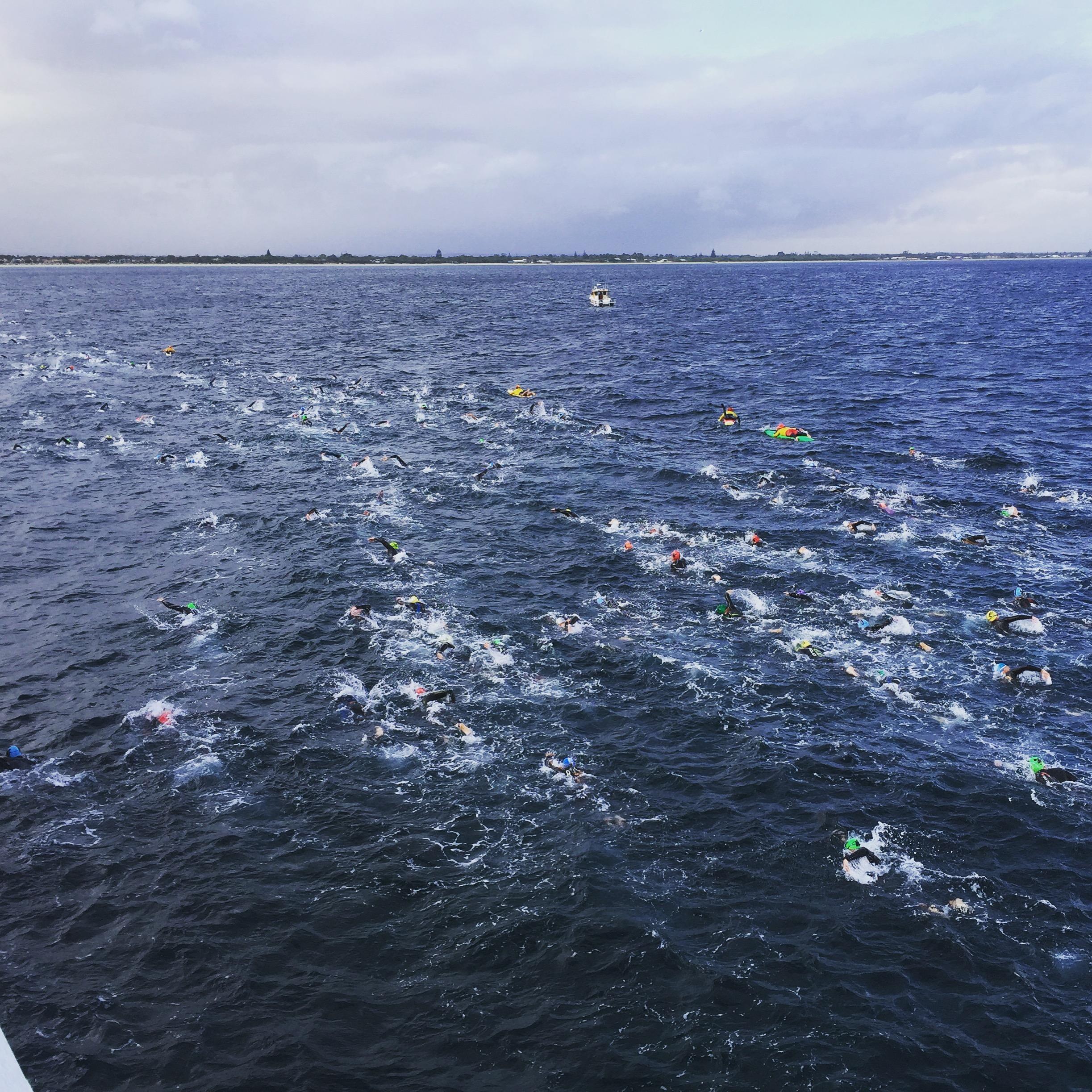 The last 1km of the 4km swim