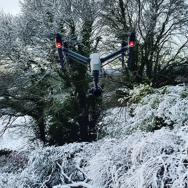 Our new DJI Inspire 2 hiding in the snow. Now able to fly down to -20°C apparently with it's new dual battery system. #inspire2 #drone