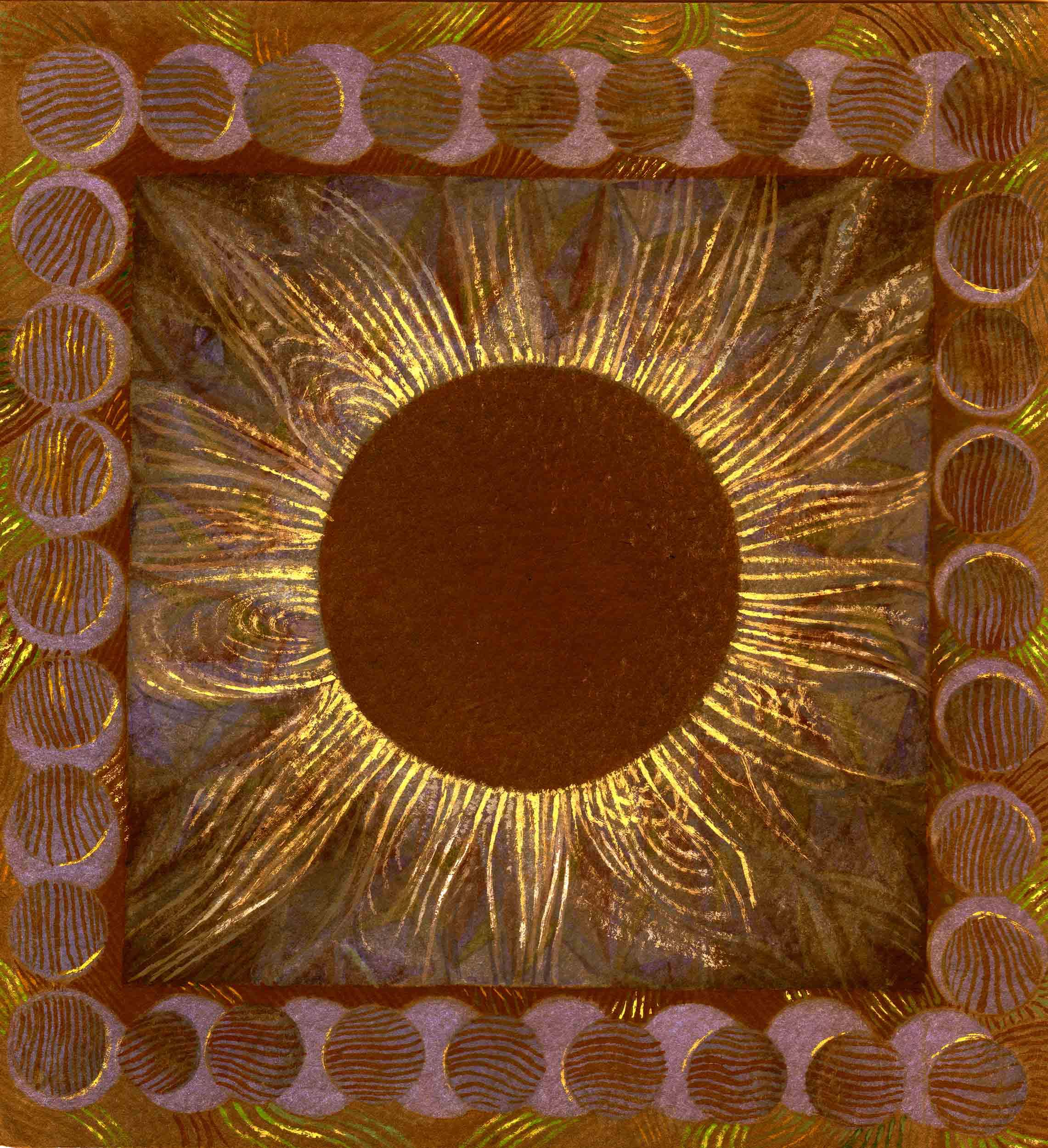 Solar Eclipse, purple and gold