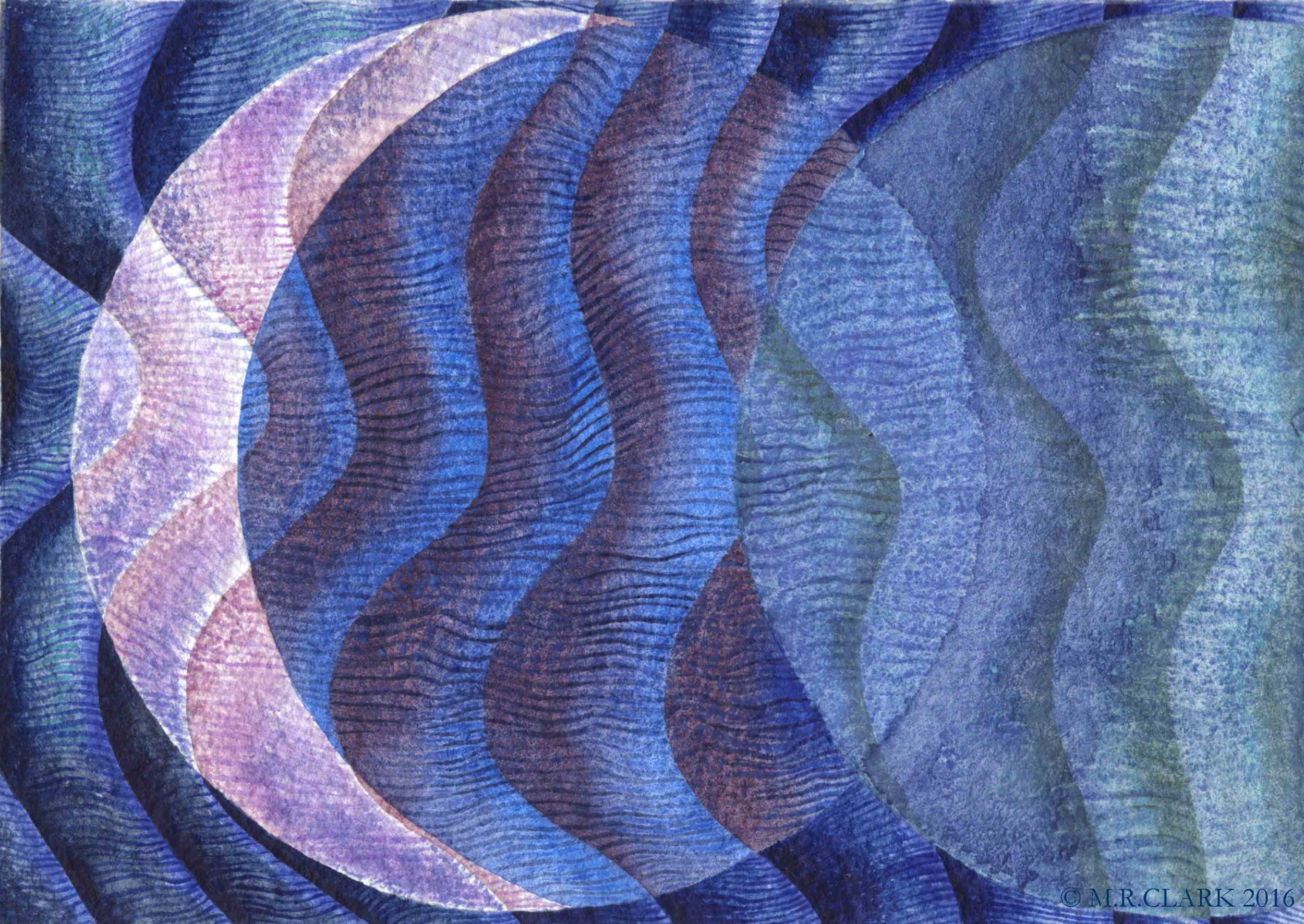 The Moon as a watery reflection. The Moon moving through time as it passes through the phases. The cobalt violet has the cool vibrancy that I was looking to show a moony luminosity.