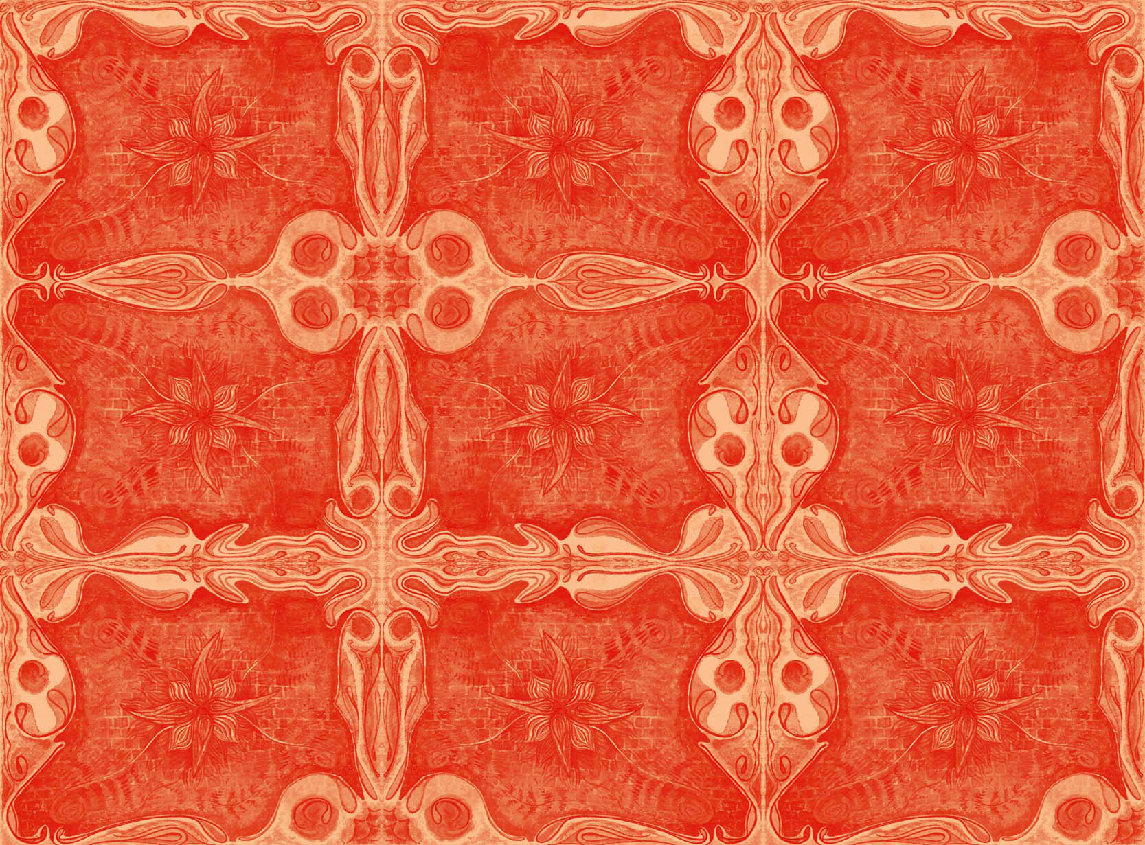 Color Project No. 13 is Cadmium Orange from Old Holland. PR108. Cadmium is what eventually replaced vermillion. It was less costly, less toxic and does not revert to black when exposed to light. We are lucky to have it. I am afraid that this digital collage looks a bit redder than the actual painting. Sometimes it is just impossible to get it to look the same on the screen. What can I say? But I like the texture of this tiled pattern and the color. It is totally an accident that I just made an orange painting so close to Halloween.