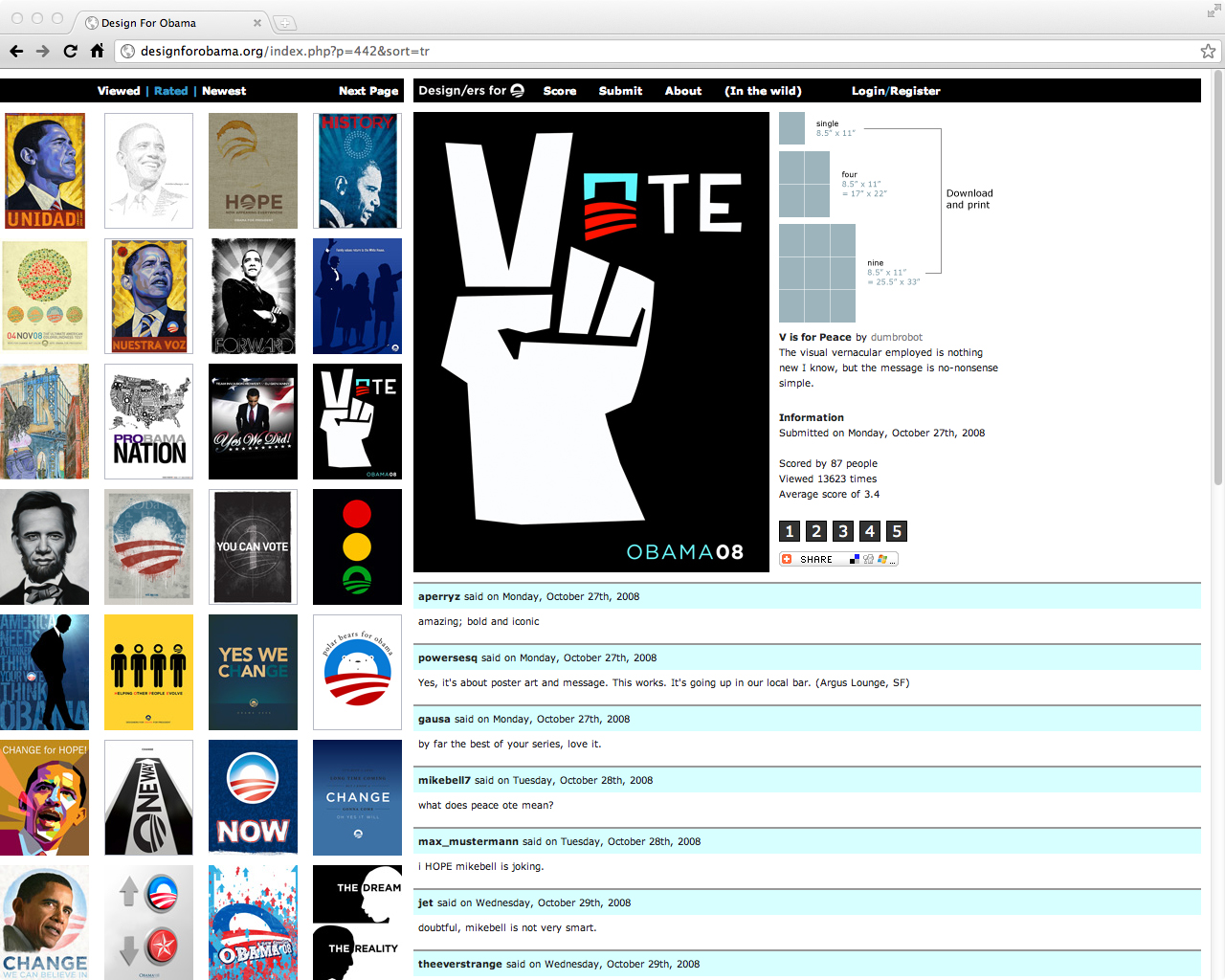 The original Design for Obama website which comprised of a big poster grid with the ability to upload and download poster submissions.