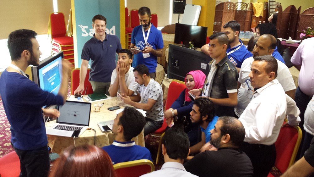 Facebook engineer Murtadha Al Tameemi and technologist Brian Forde train on Bitcoin in Basra
