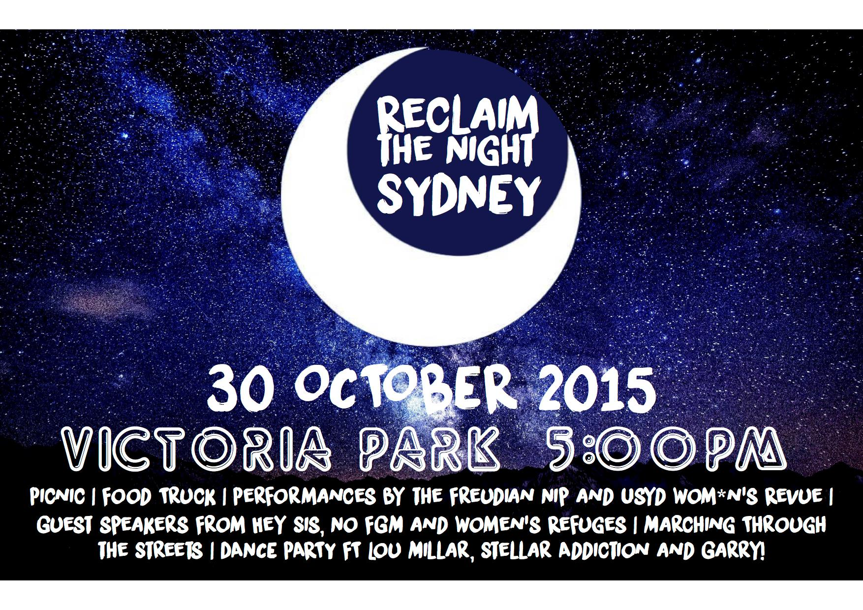 Victoria Park, picnic from 5pm, march at 7.30pm, live music from 9pm    Join the 'Reclaim the Streets' movement in the fight for your right to party. After the success of the peaceful march throughout the CBD a few weeks ago protesting against lock out laws and the demise of Sydney nightlife, the RTS clan has organised a picnic-cum-party on Friday night at Victoria Park with live tunes and food by Cantina Movil food truck.    Moneys? Free!